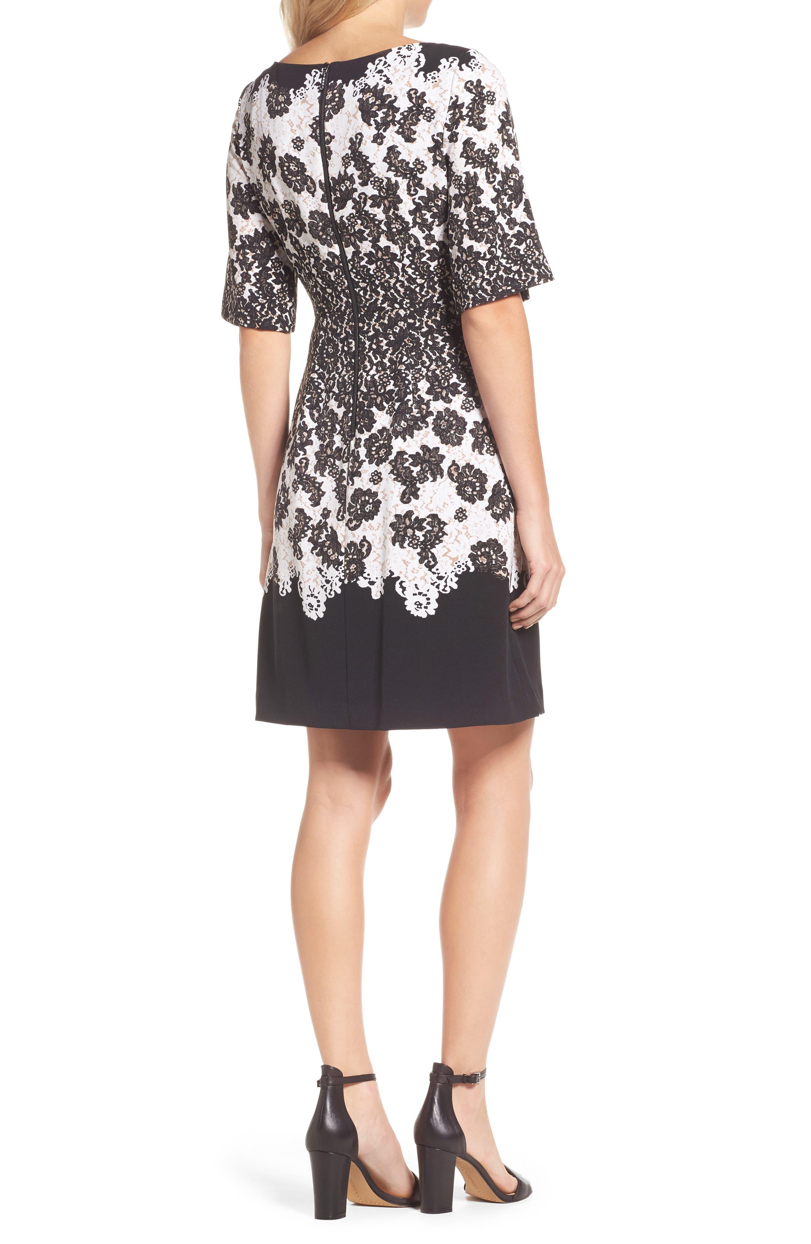 Print Fit & Flare Dress,                             Alternate thumbnail 2, color,