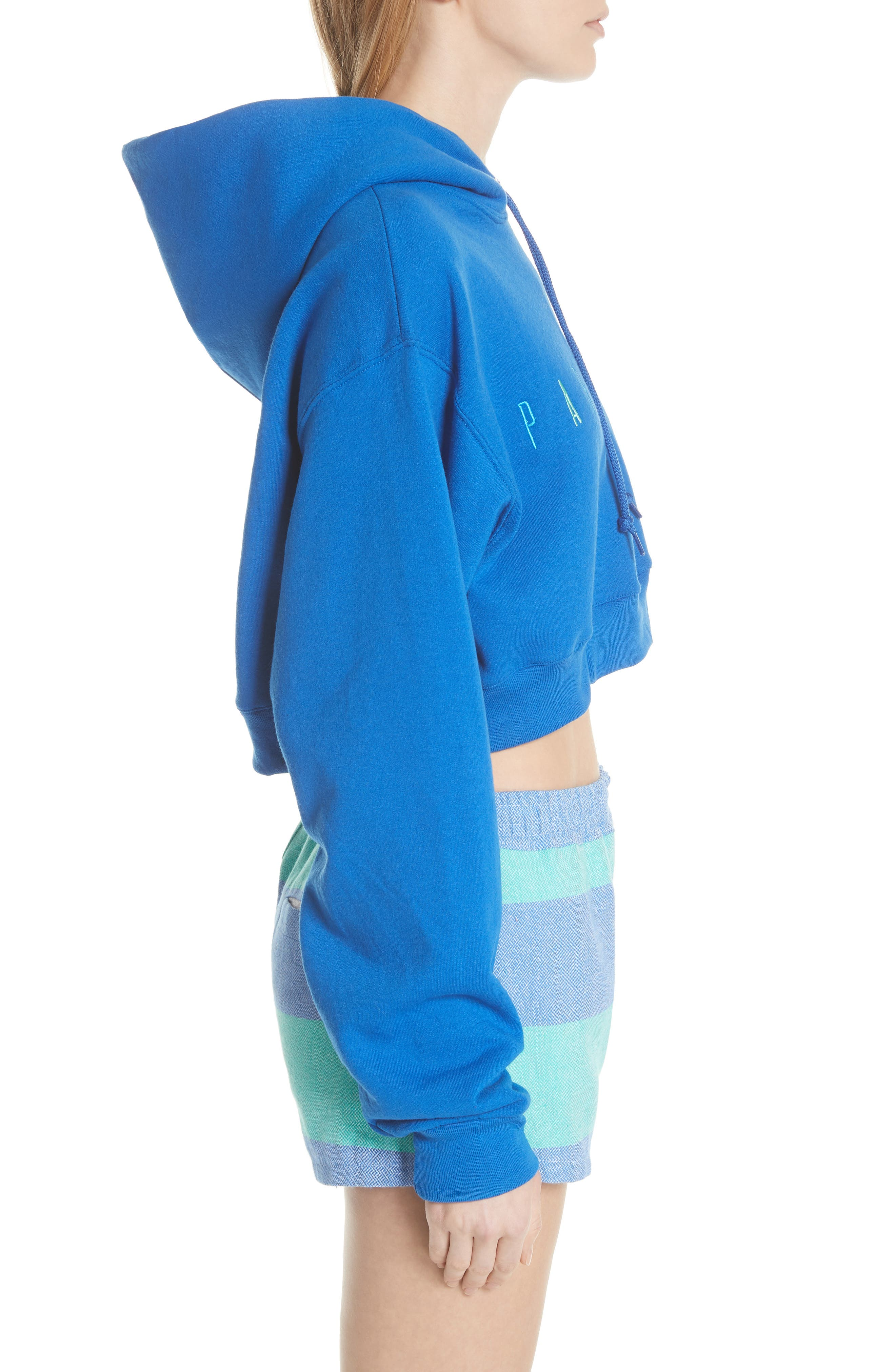 Logo Embroidered Crop Hoodie,                             Alternate thumbnail 3, color,                             ROYAL