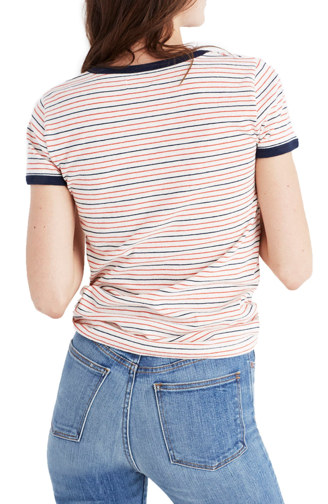 Stripe Recycled Cotton Ringer Tee,                             Alternate thumbnail 2, color,                             600
