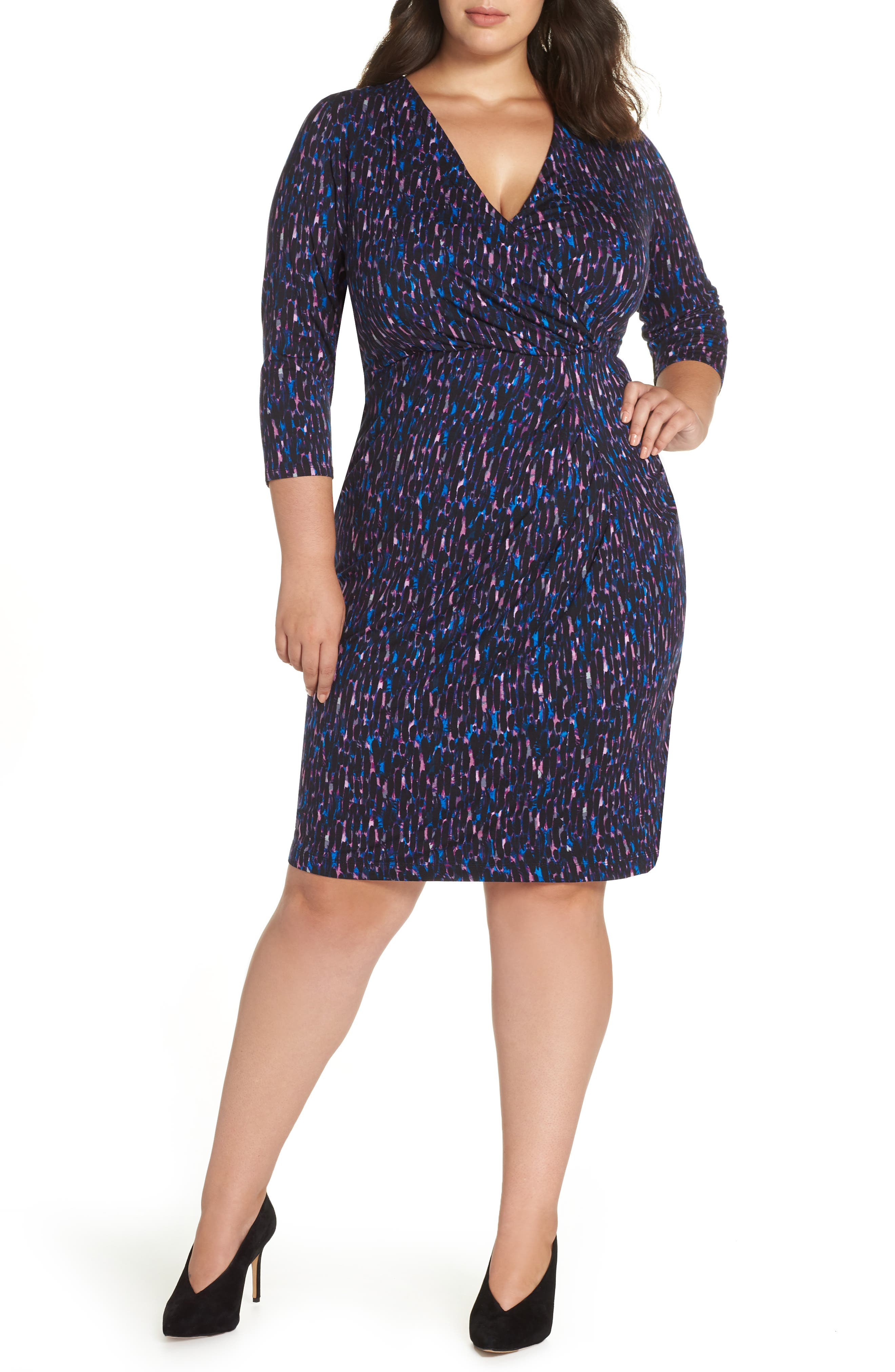 Printed Faux Wrap Dress,                             Main thumbnail 1, color,                             515