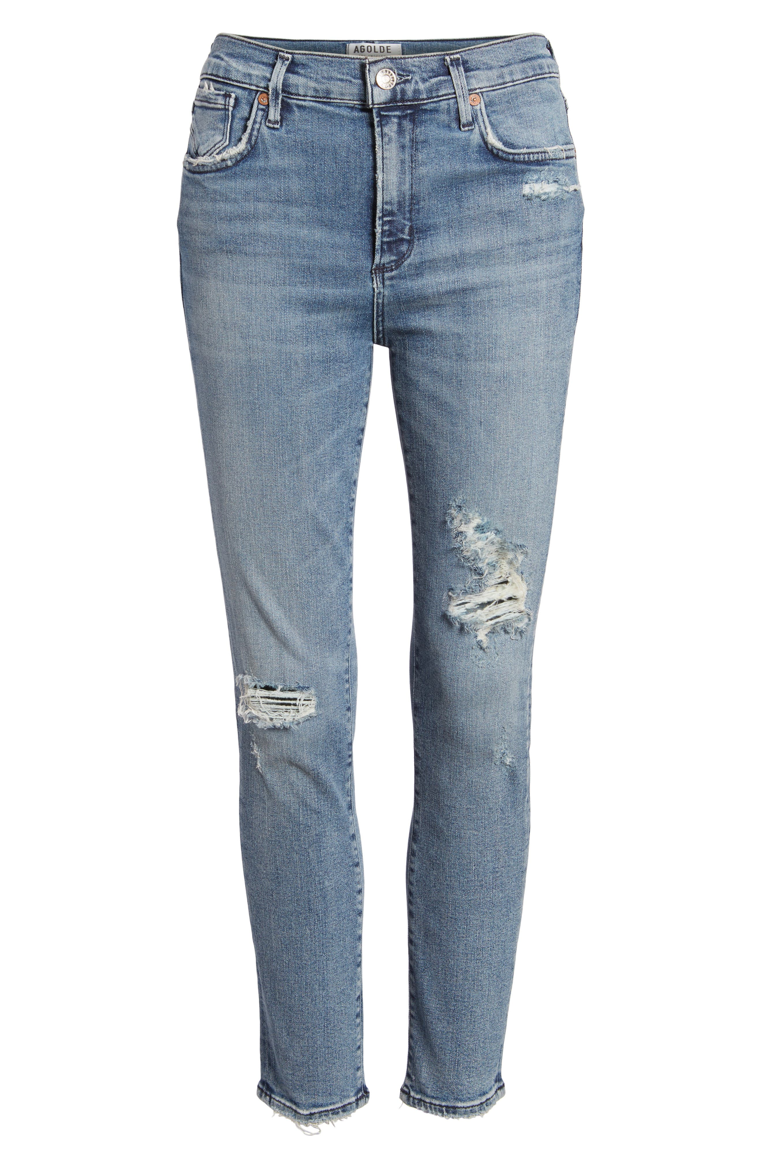 Sophie Ripped High Waist Crop Skinny Jeans,                             Alternate thumbnail 6, color,                             430