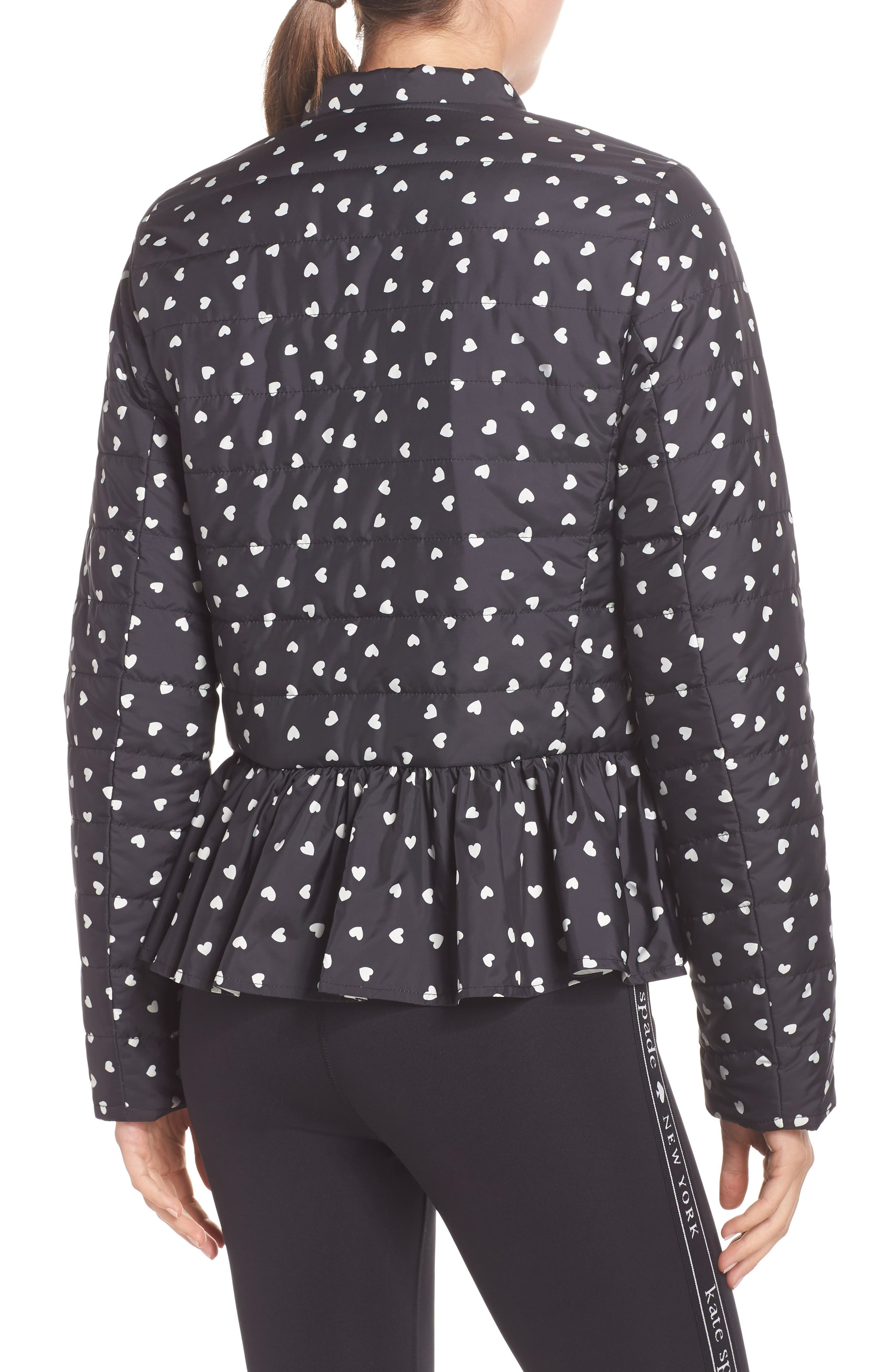 KATE SPADE NEW YORK,                             ruffle reversible quilted jacket,                             Alternate thumbnail 3, color,                             001