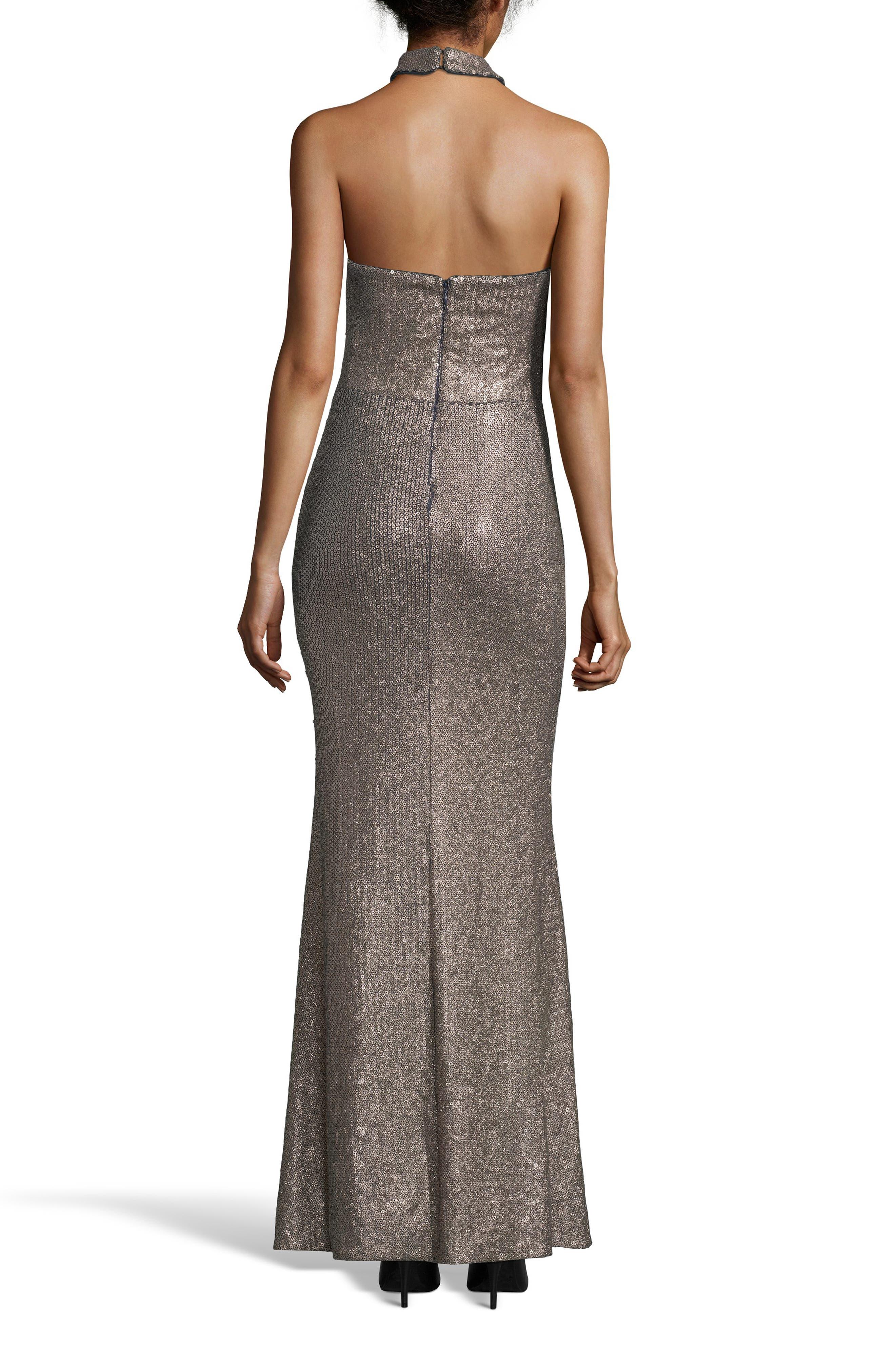 Crisscross Halter Neck Sequin Gown,                             Alternate thumbnail 2, color,                             GOLD/ NAVY