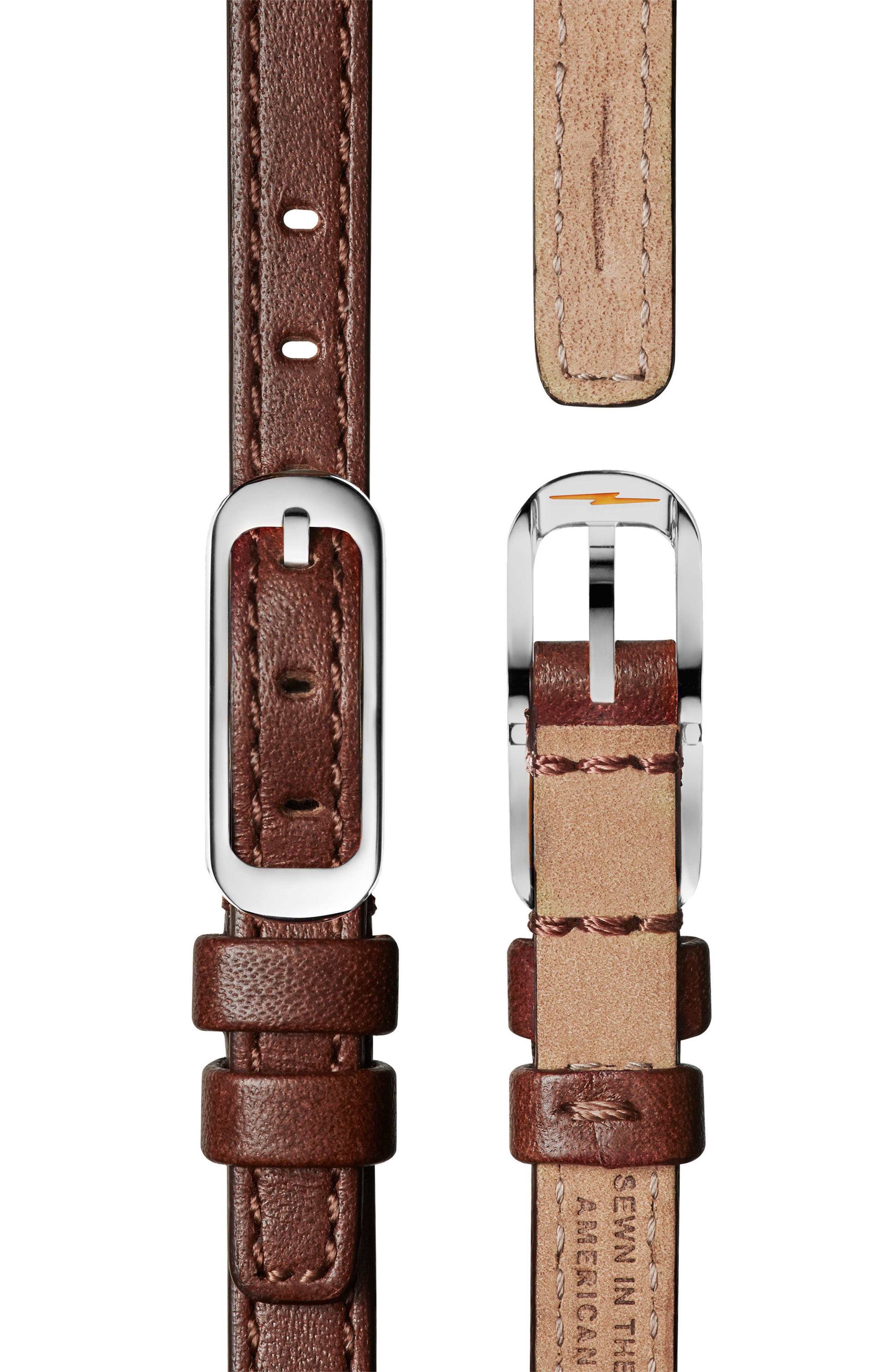 The Birdy Leather Strap Watch, 34mm,                             Alternate thumbnail 4, color,                             BROWN/ GREY/ SILVER