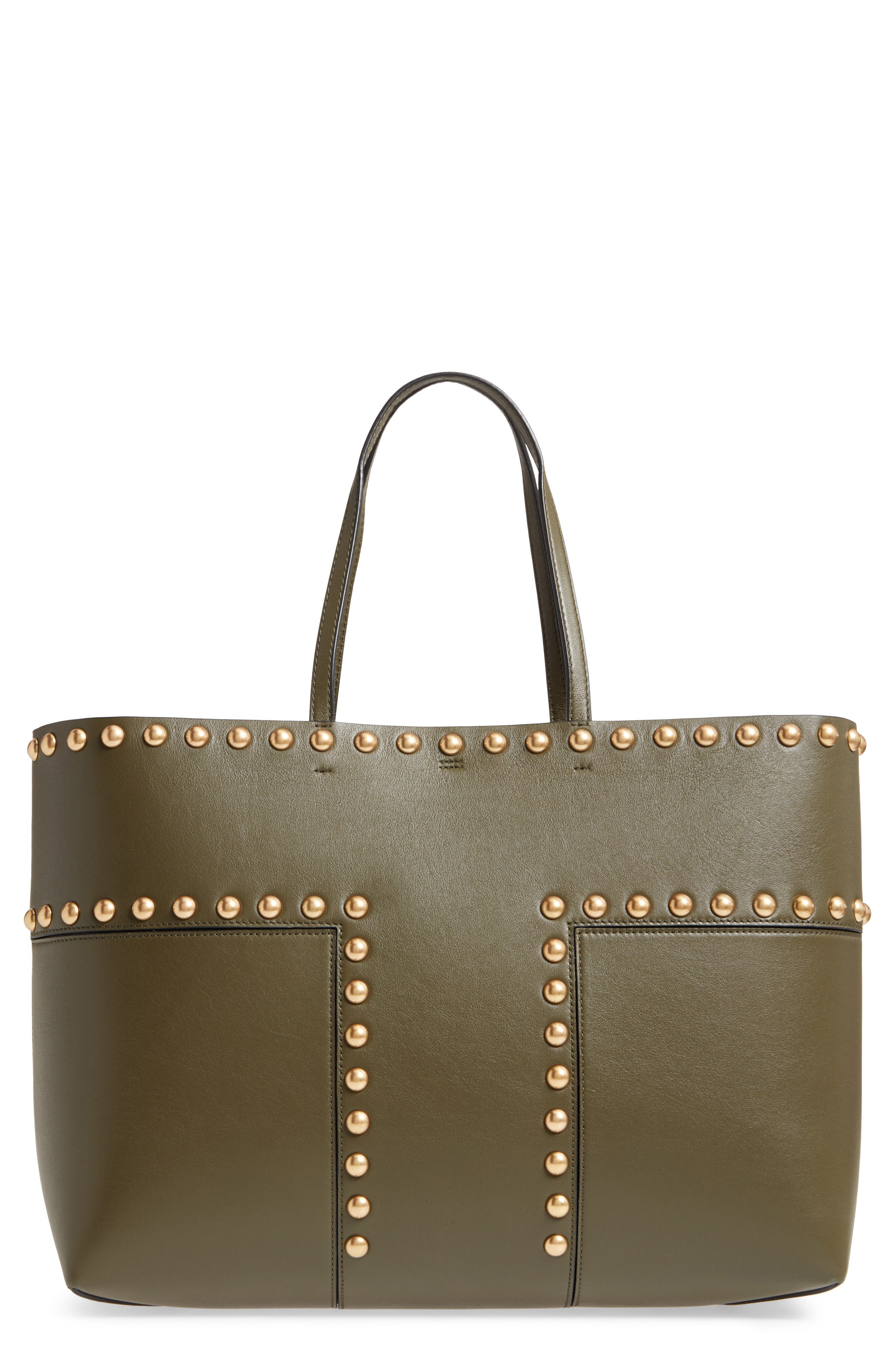 Block-T Studded Leather Tote,                             Main thumbnail 1, color,                             300