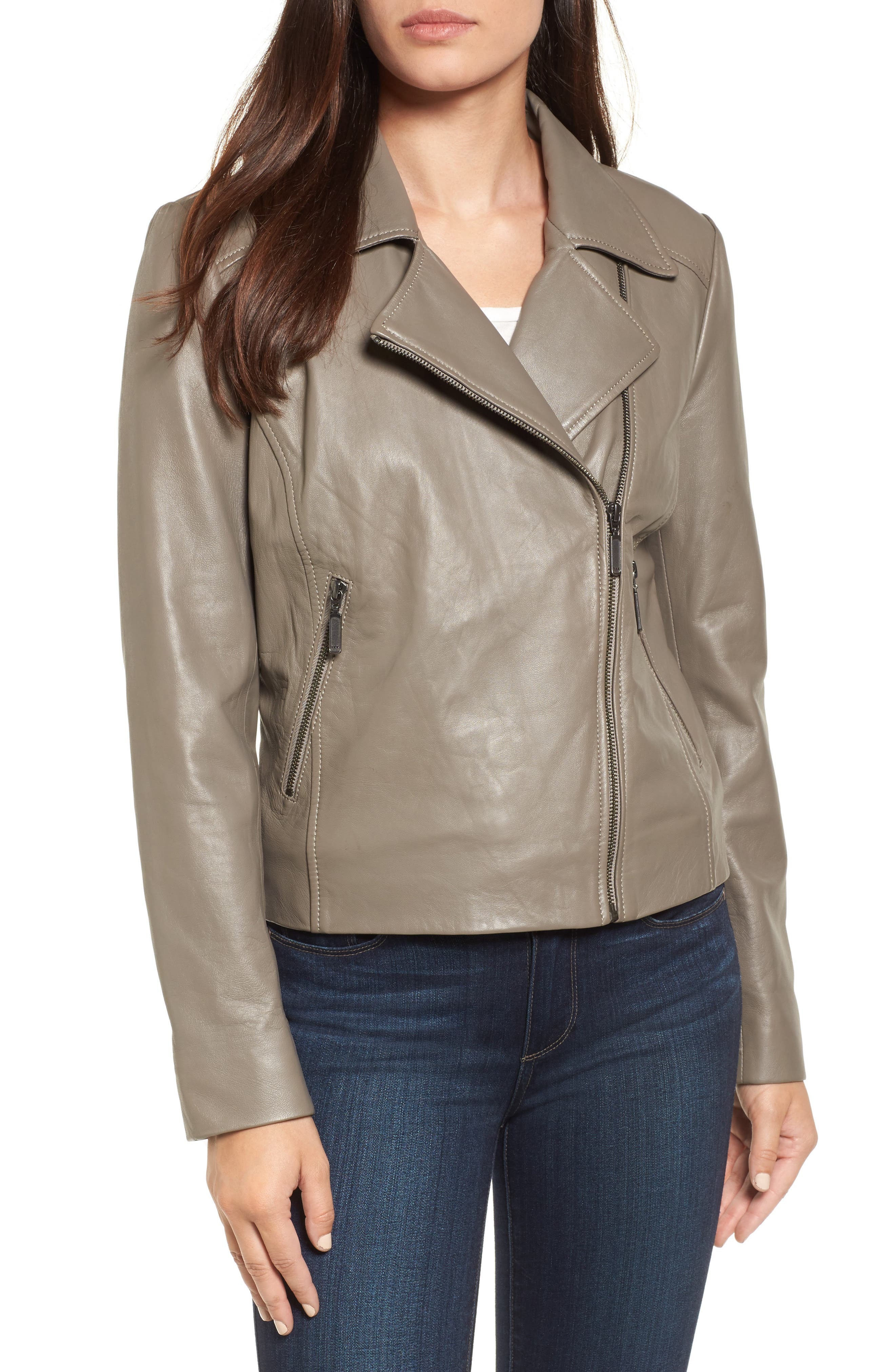 Leather Moto Jacket,                             Alternate thumbnail 4, color,                             020