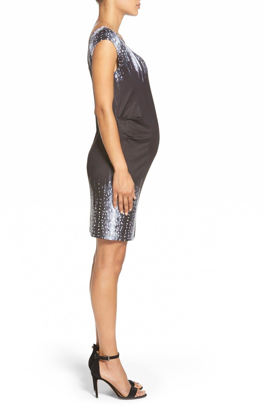 'Jillian' Cap Sleeve Maternity Dress,                             Alternate thumbnail 3, color,                             FAWN BORDER