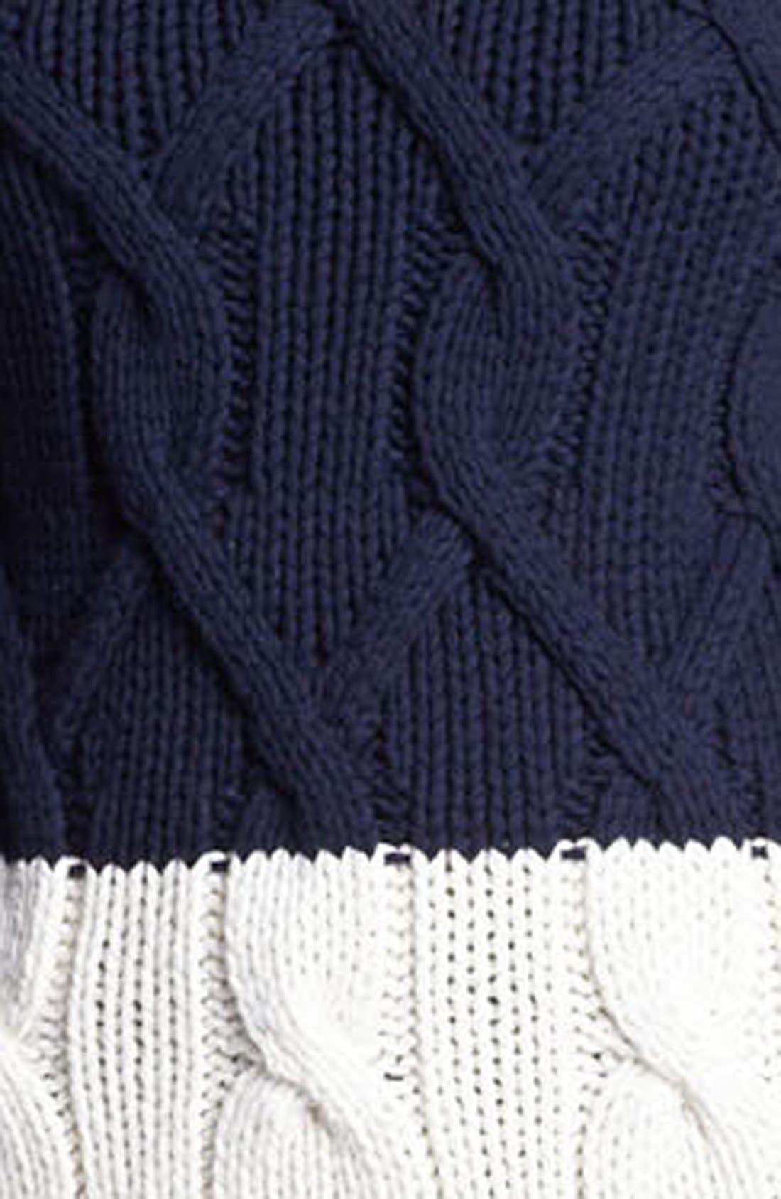 Zip Shoulder Colorblock Cable Sweater,                             Alternate thumbnail 2, color,                             103
