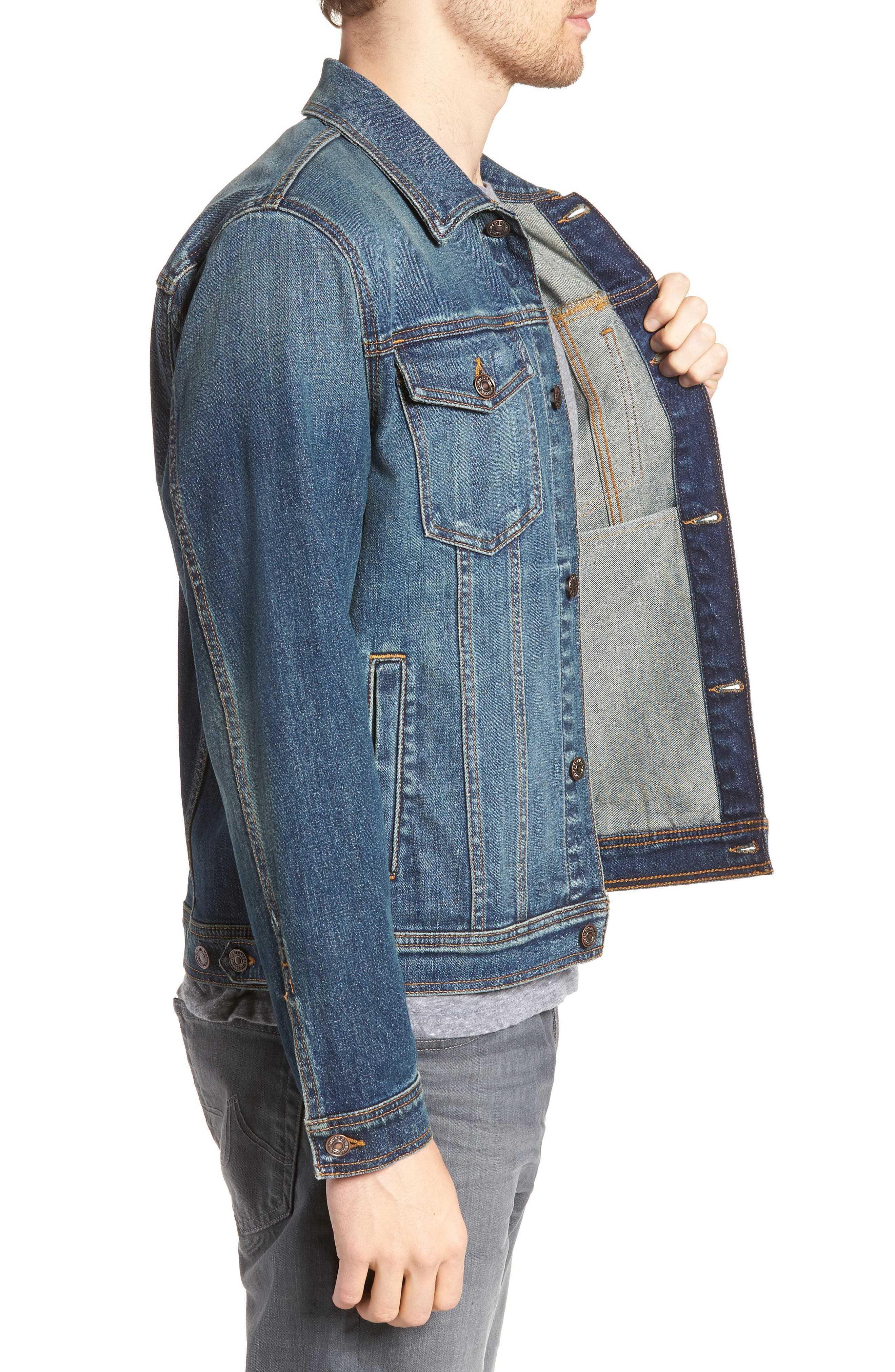 7 FOR ALL MANKIND<SUP>®</SUP>,                             Trucker Jacket,                             Alternate thumbnail 3, color,                             400
