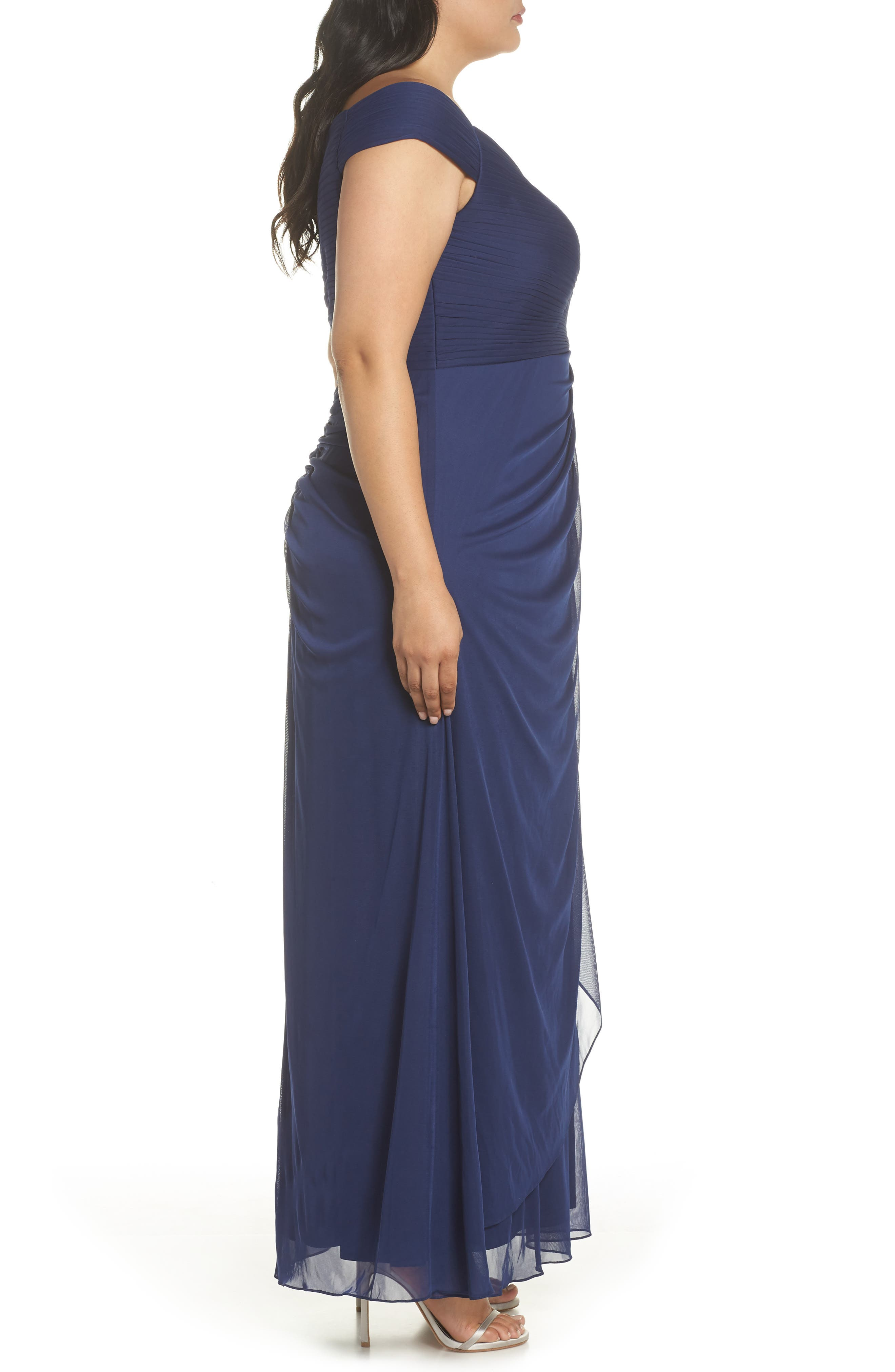 Embellished Pleat Gown,                             Alternate thumbnail 3, color,                             400