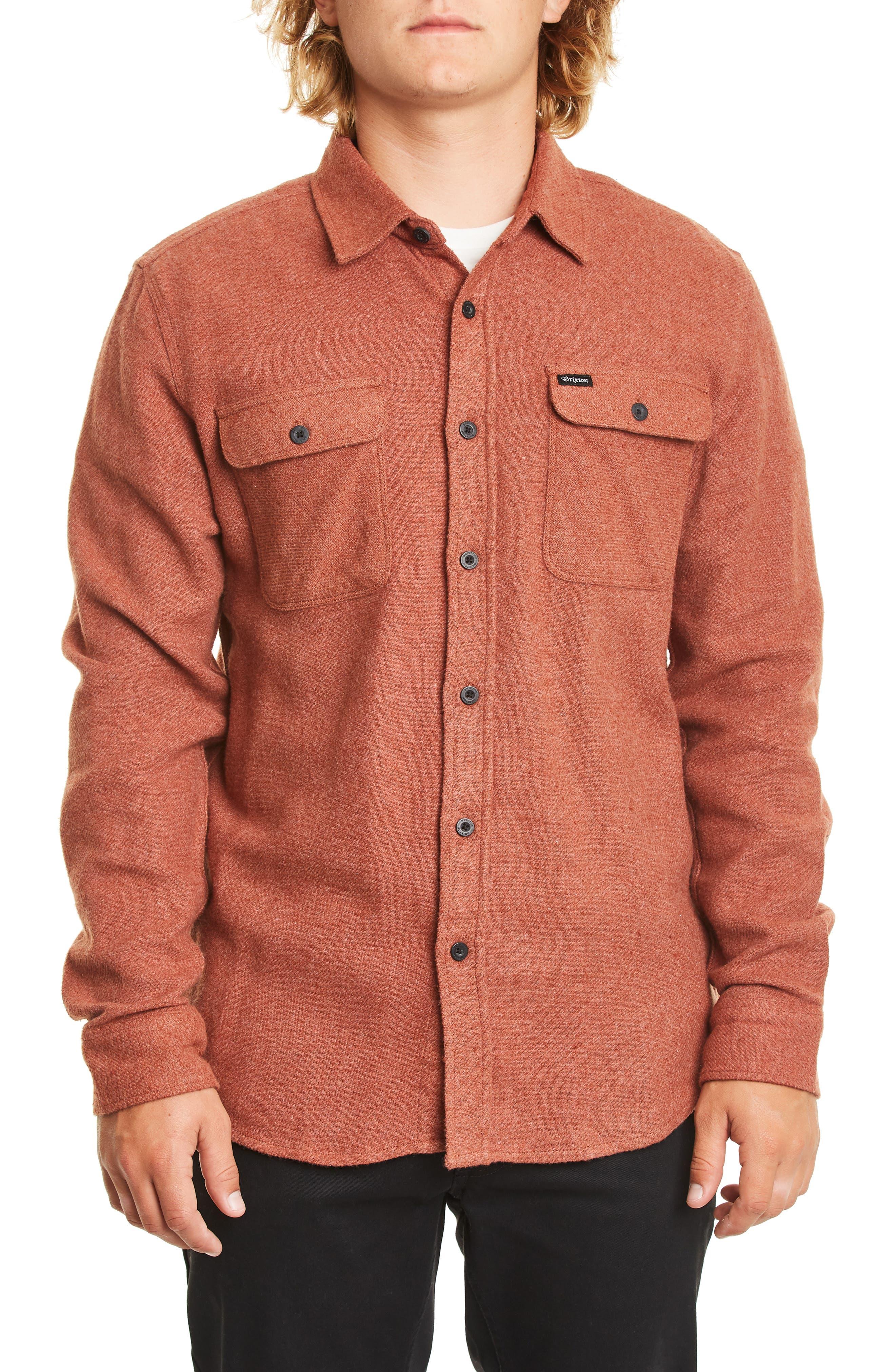 BRIXTON Bowery Twill Work Shirt, Main, color, CLAY