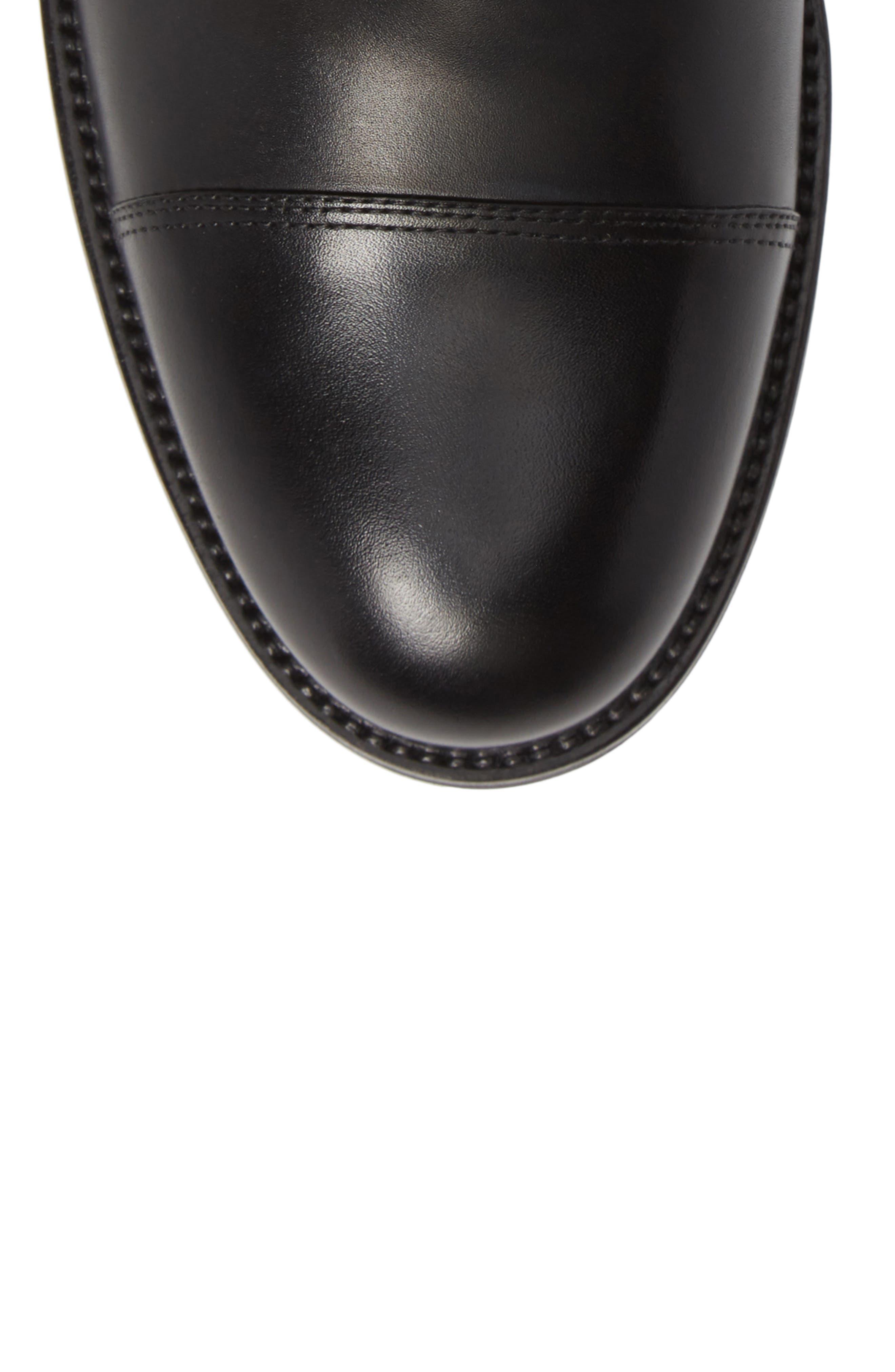 Peyton Cap Toe Boot,                             Alternate thumbnail 5, color,                             BLACK LEATHER