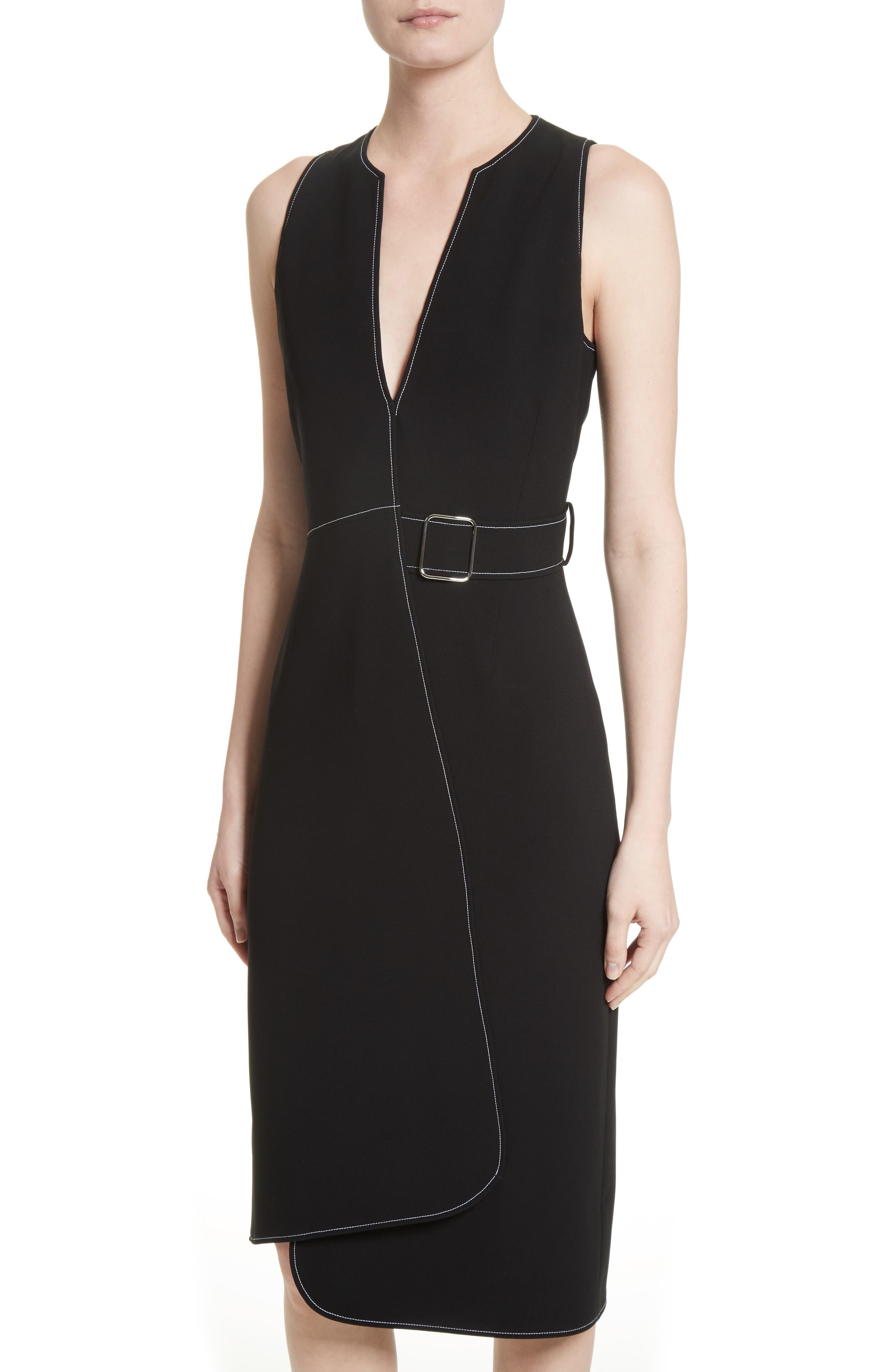 Asymmetrical Belted Dress,                             Alternate thumbnail 4, color,                             001