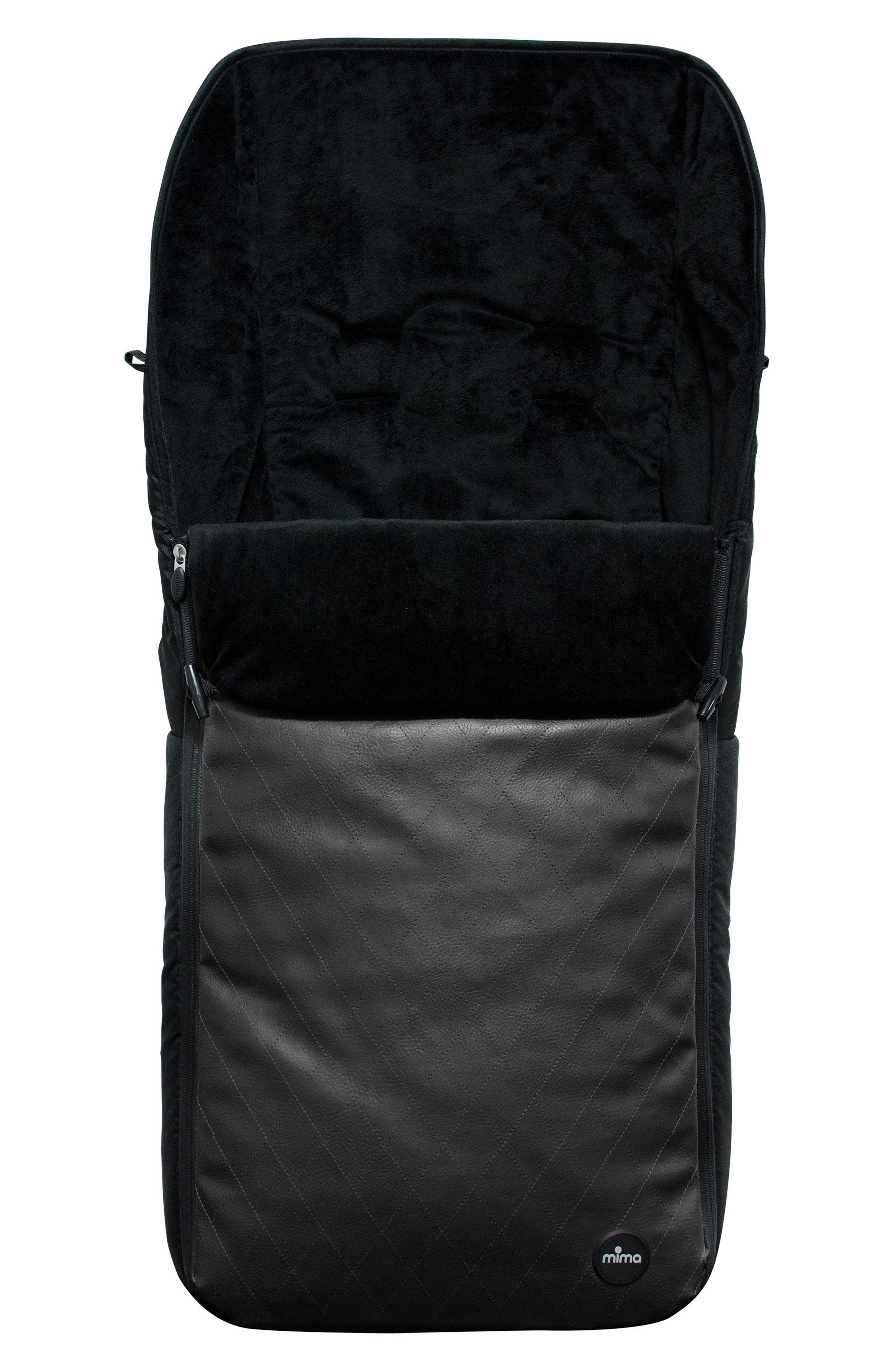 Faux Leather Footmuff for Mima Bo Stroller,                         Main,                         color, BLACK