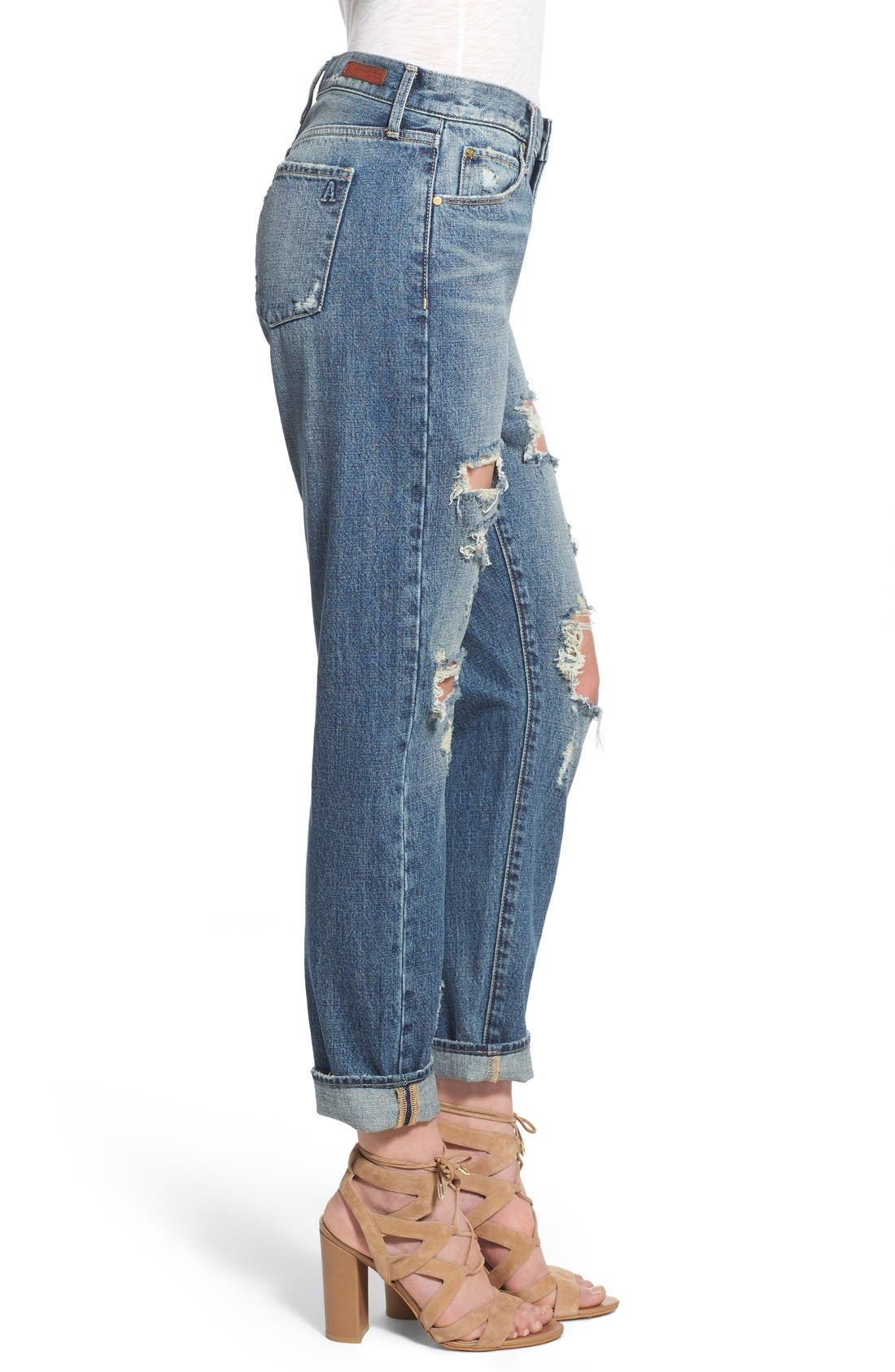 ARTICLES OF SOCIETY,                             'Janis' Destroyed Boyfriend Jeans,                             Alternate thumbnail 4, color,                             408