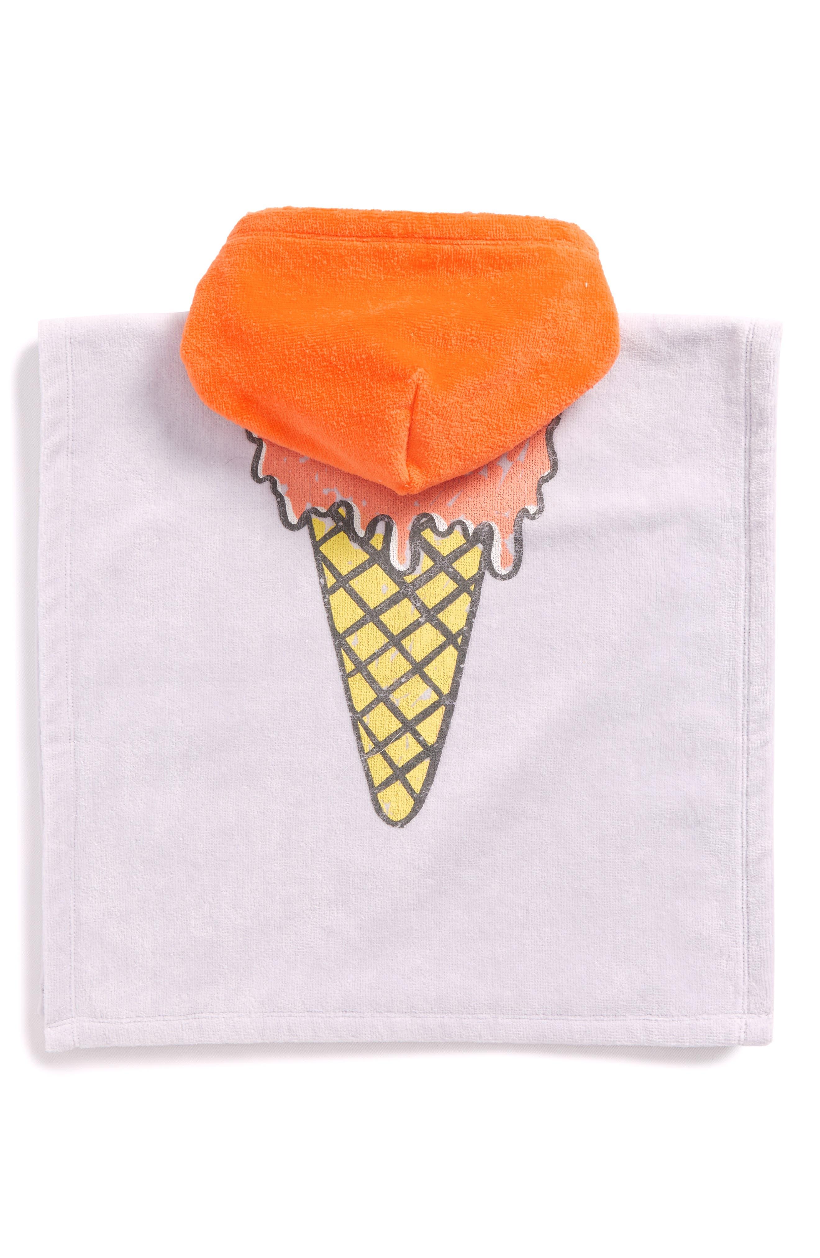 Kids Boho Ice Cream Hooded Beach Towel,                             Alternate thumbnail 3, color,