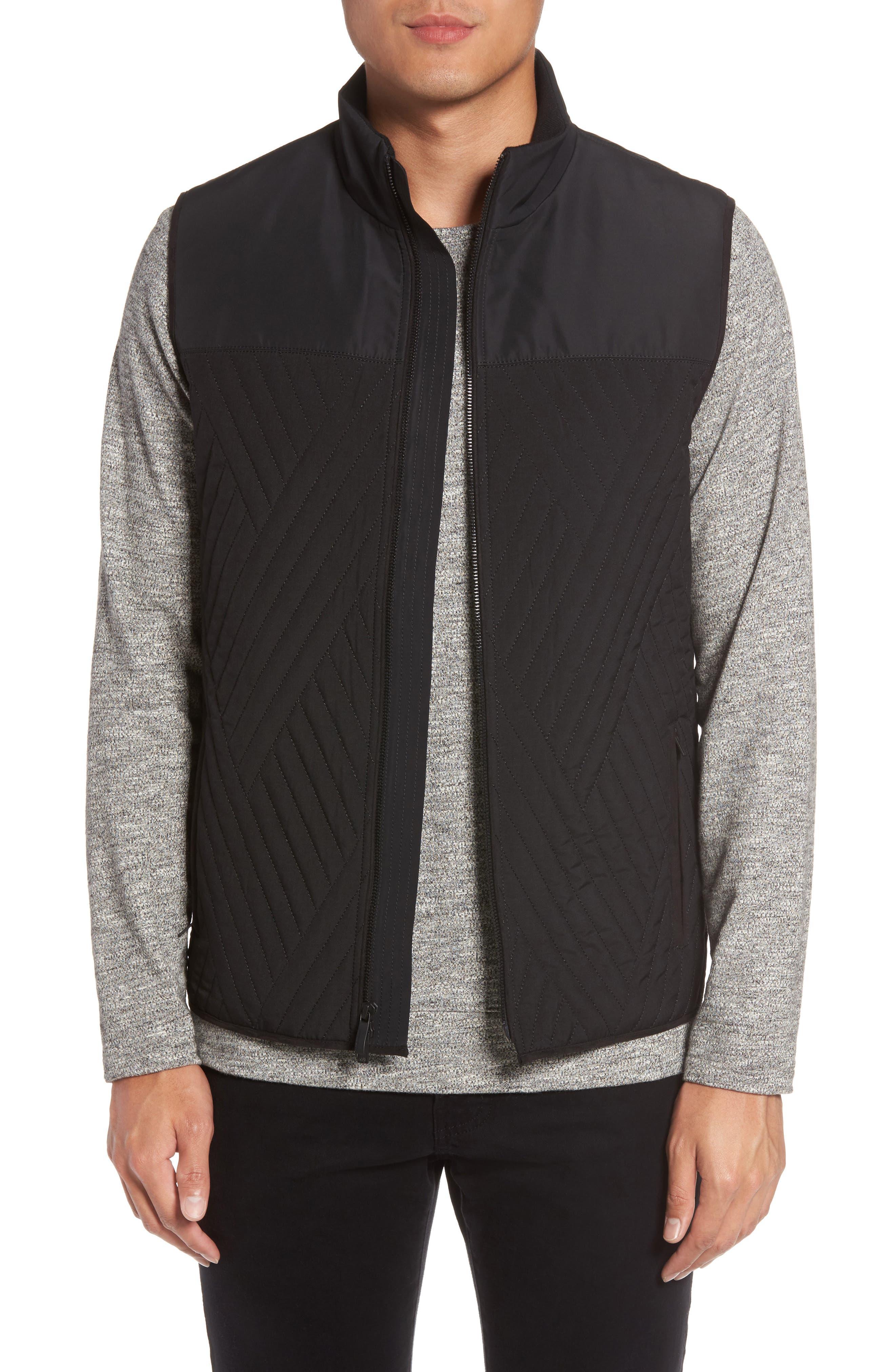 VINCE CAMUTO Slim Fit Quilted Vest, Main, color, BLACK