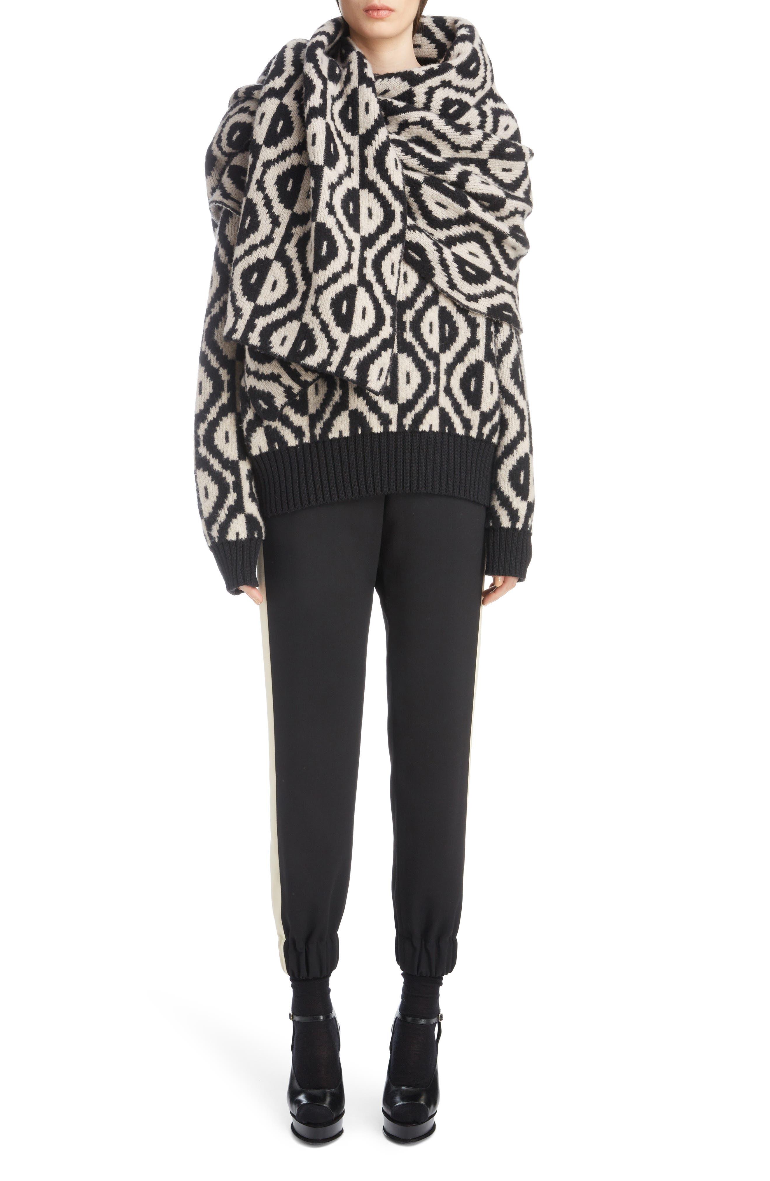 Geo Jacquard Merino Wool Blend Sweater,                             Alternate thumbnail 6, color,                             001