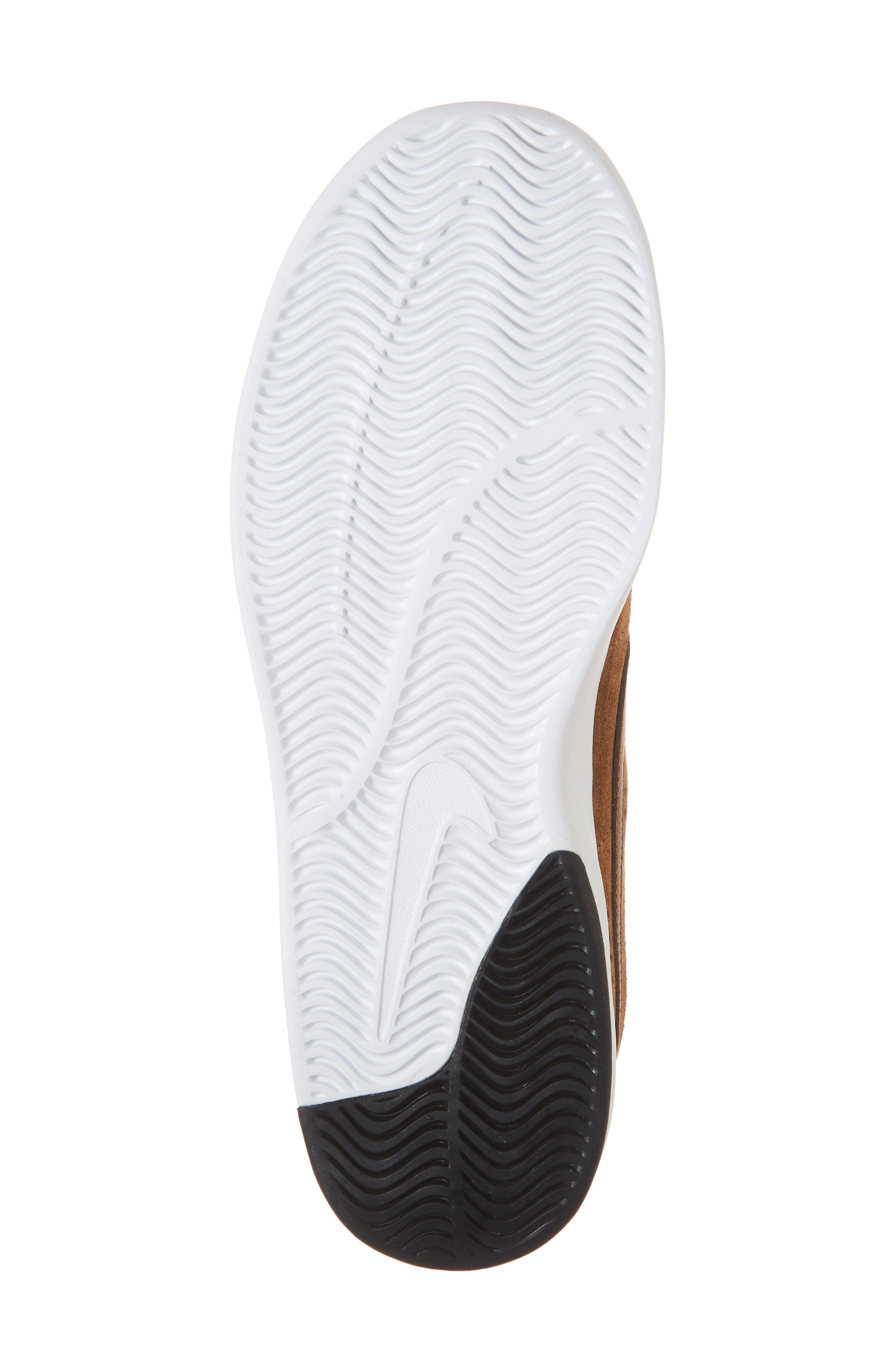 SB Air Max Bruin Vapor Skateboarding Sneaker,                             Alternate thumbnail 6, color,                             BRITISH TAN/ BLACK/ MONARCH