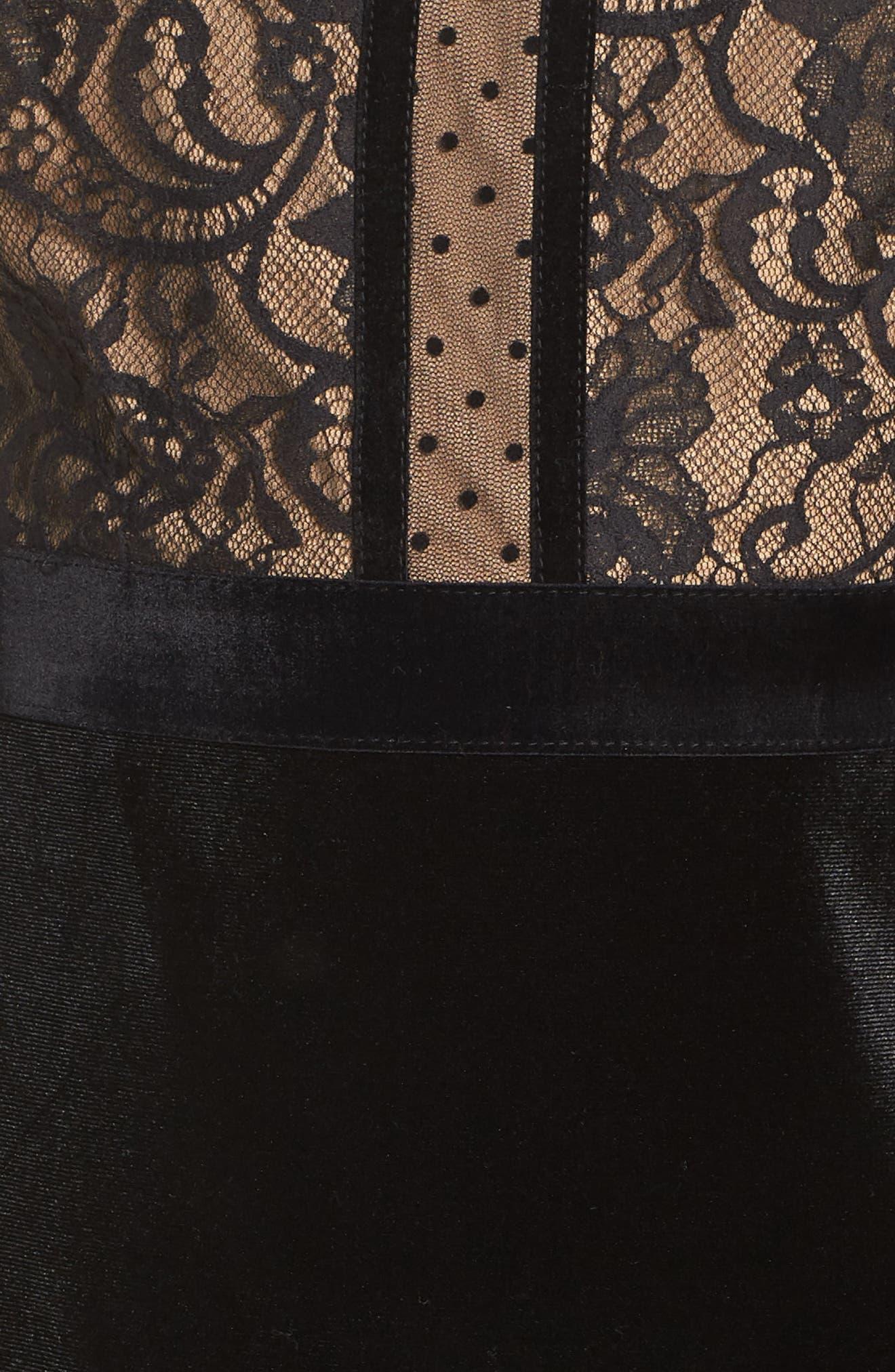 TADASHI SHOJI,                             Lace & Velvet Dress,                             Alternate thumbnail 6, color,                             BLACK/ NUDE