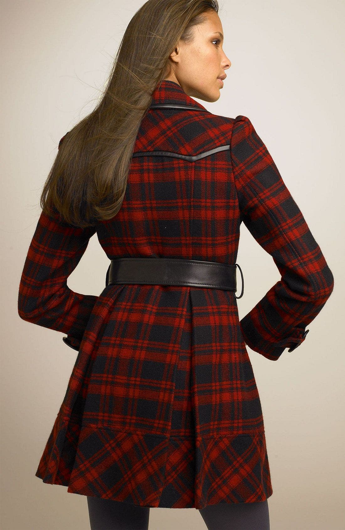 Plaid Wool Blend Trench Coat,                             Alternate thumbnail 3, color,                             BRD