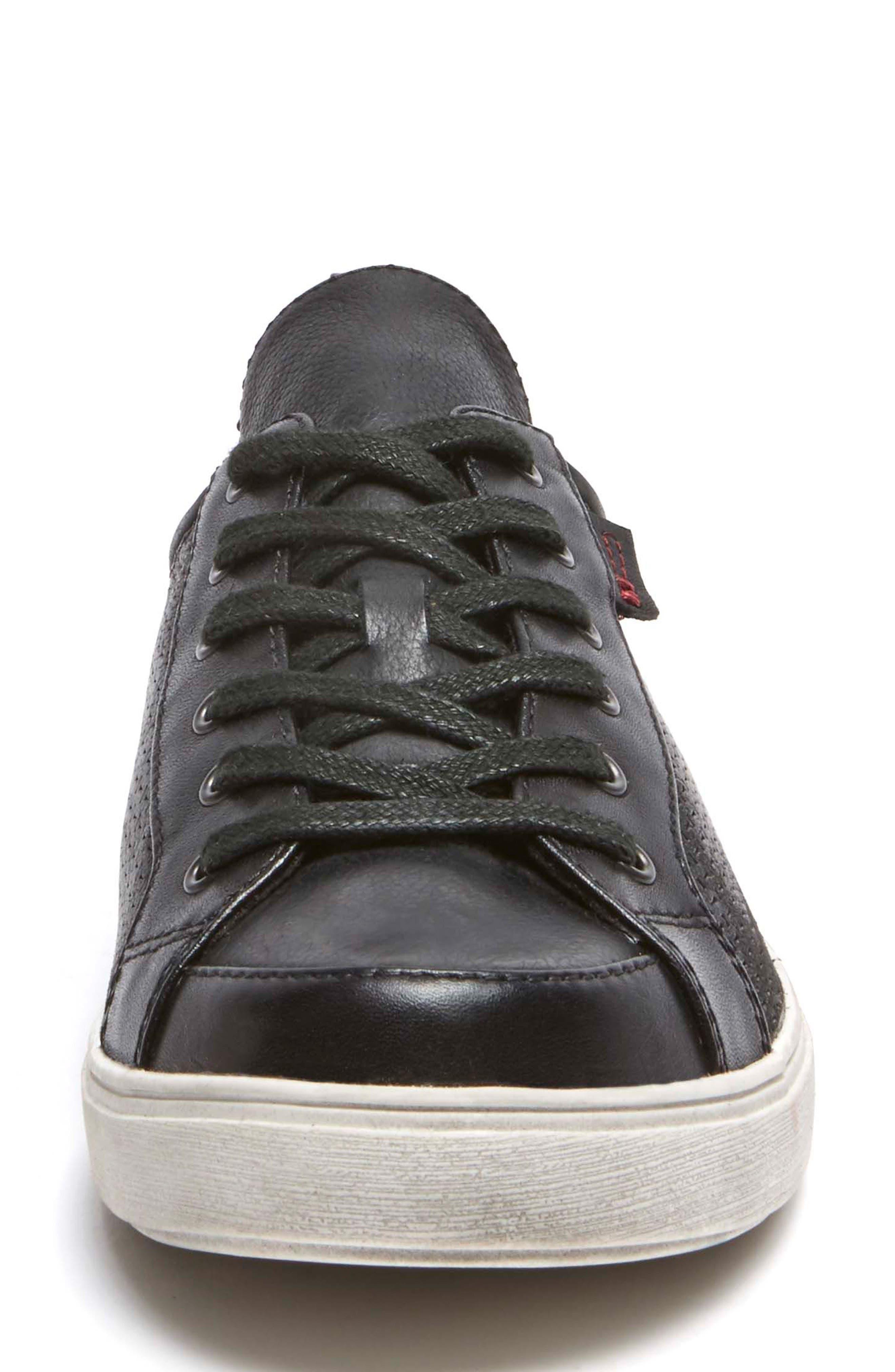 Willa Sneaker,                             Alternate thumbnail 4, color,                             BLACK LEATHER