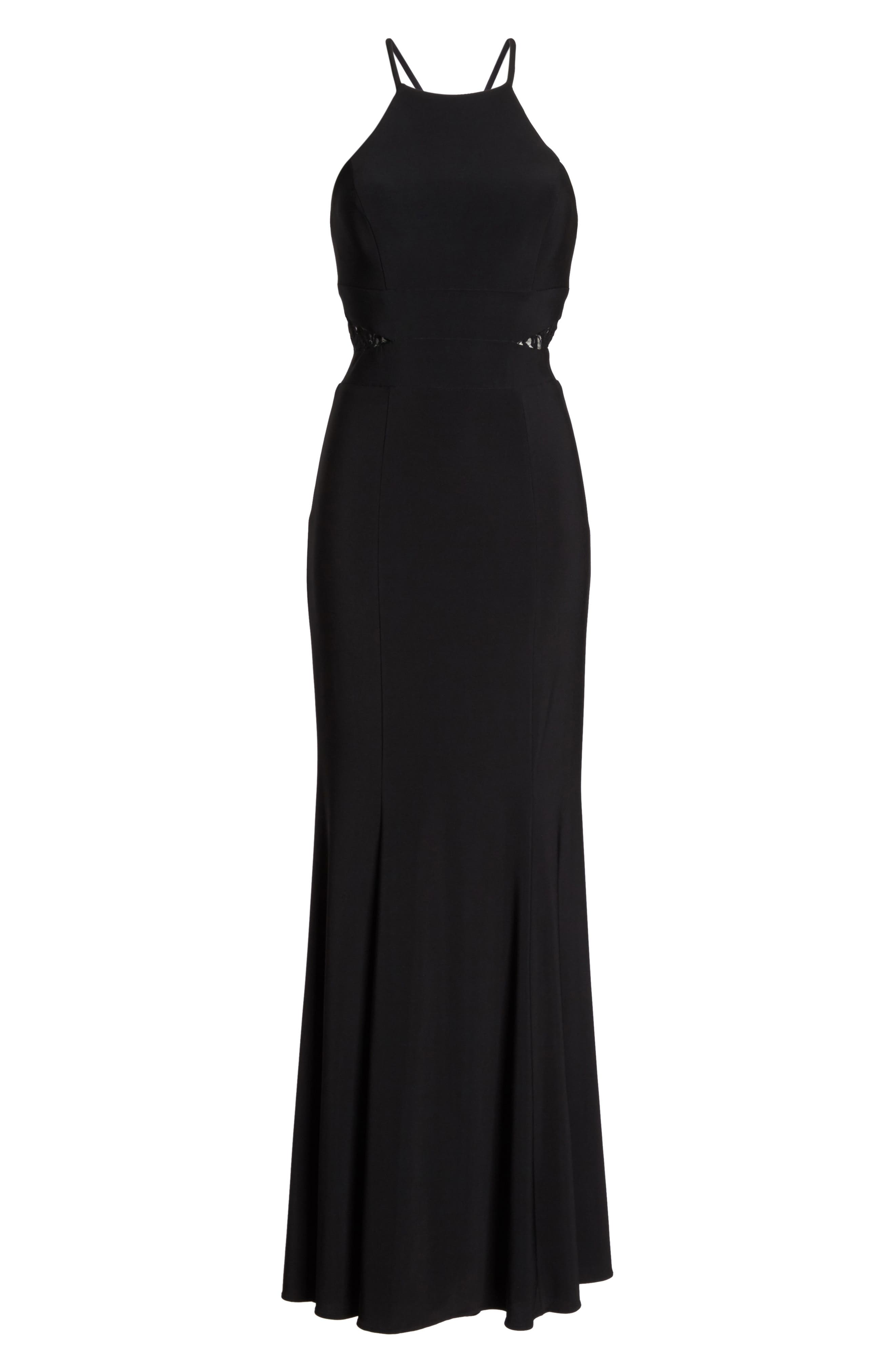Lace & Jersey Mermaid Gown,                             Alternate thumbnail 6, color,                             BLACK
