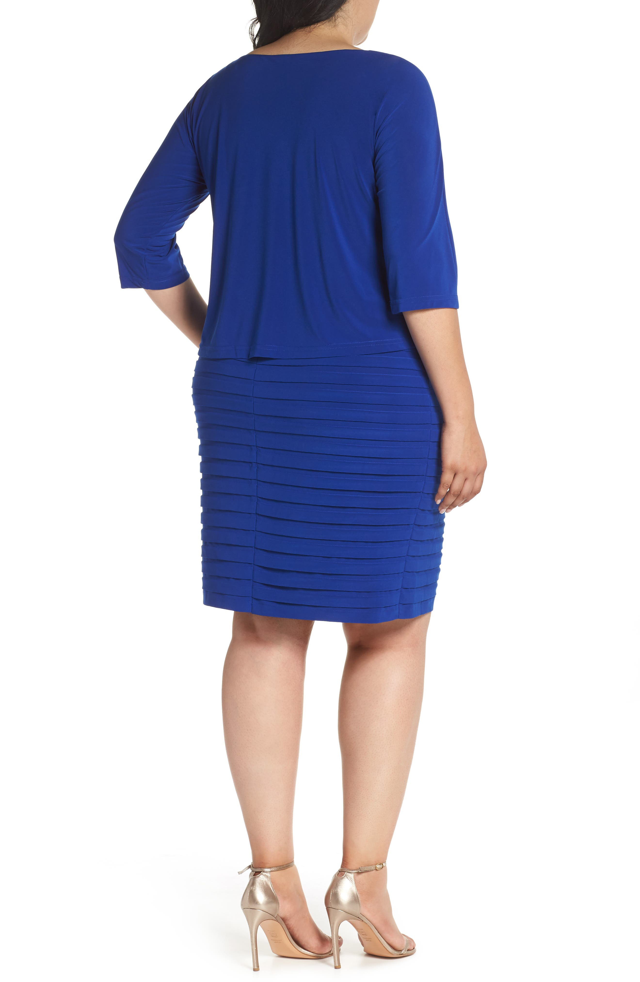 Shutter Pleat Popover Sheath Dress,                             Alternate thumbnail 3, color,                             SAPPHIRE