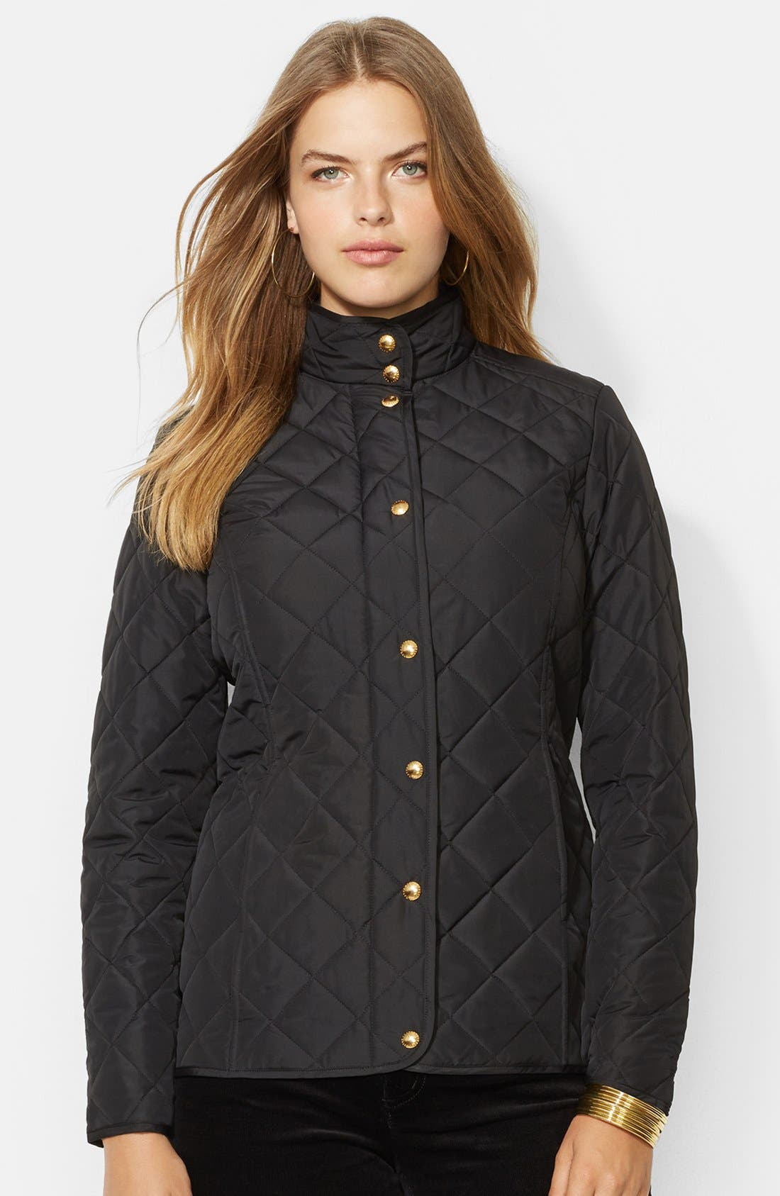 Quilted Mock Neck Jacket, Main, color, 008
