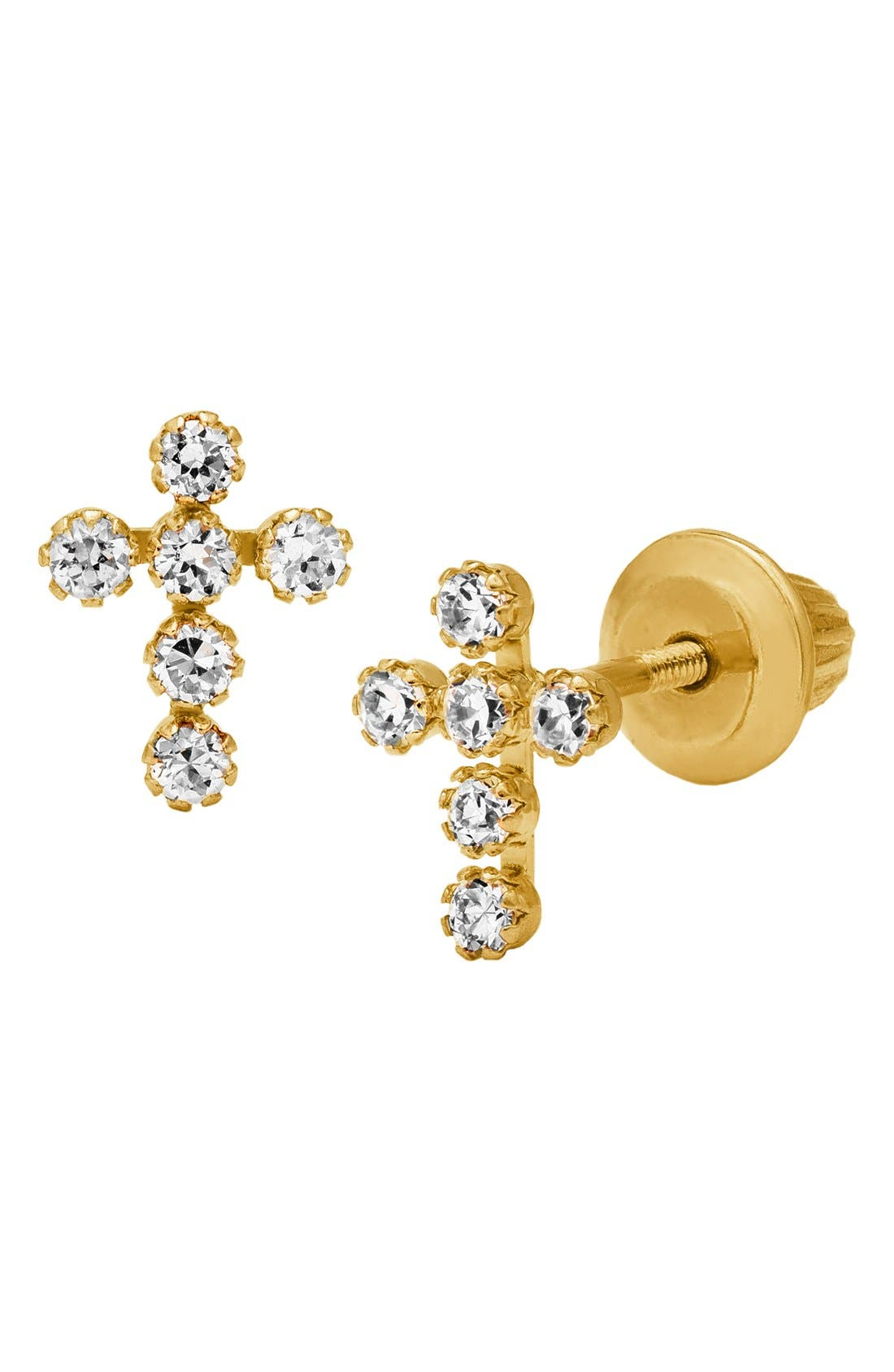 14k Gold & Cubic Zirconia Cross Earrings,                             Alternate thumbnail 2, color,                             GOLD