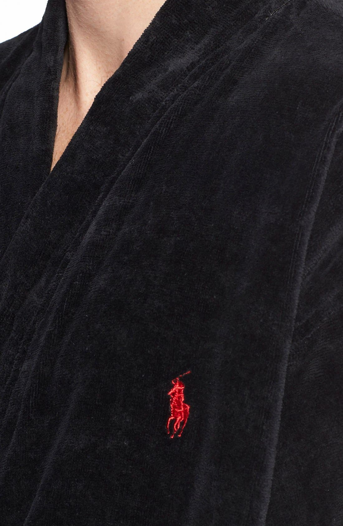 Cotton Fleece Robe,                             Alternate thumbnail 5, color,                             POLO BLACK