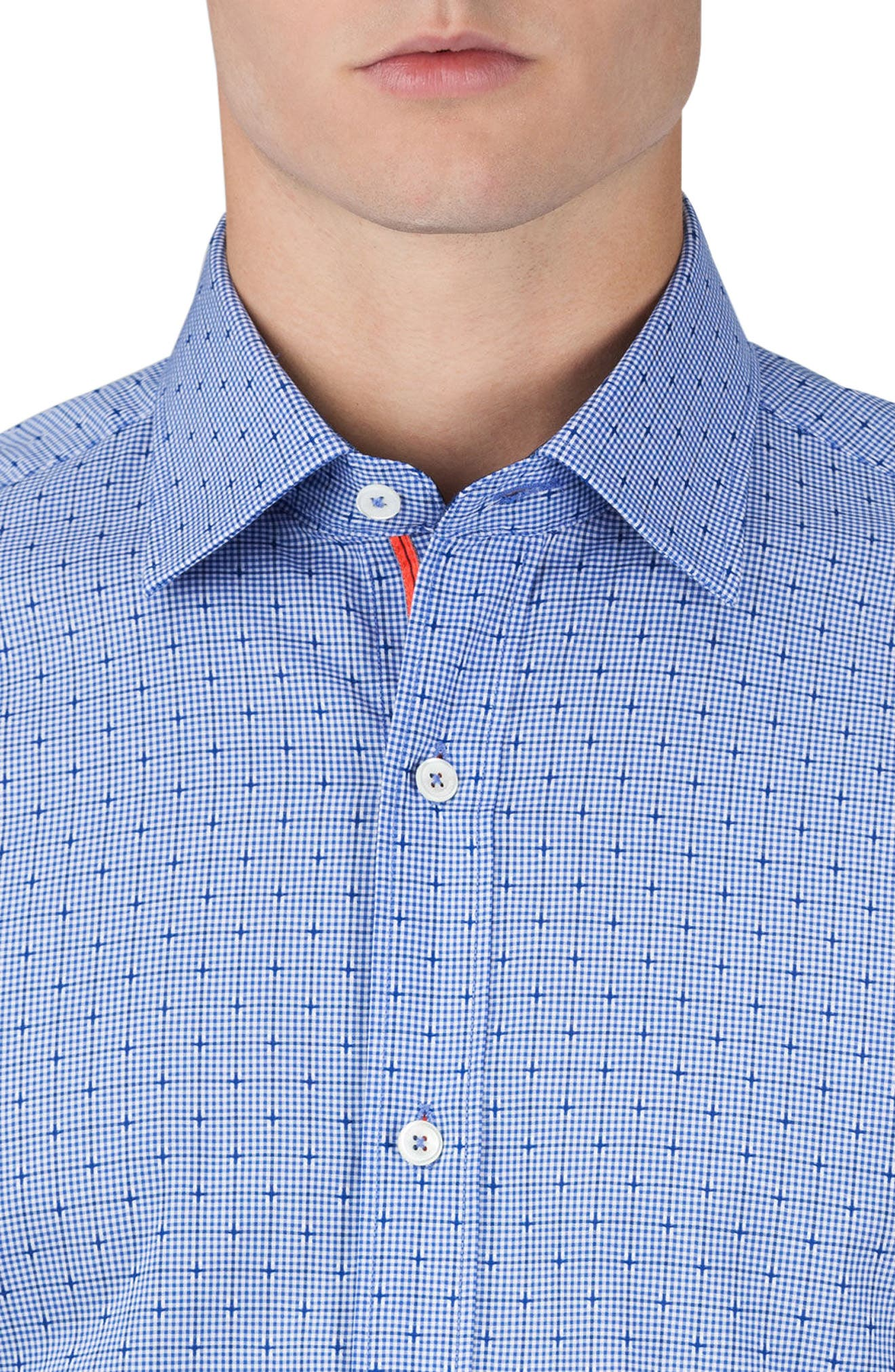 Classic Fit Layered Gingham Print Sport Shirt,                             Alternate thumbnail 3, color,                             411