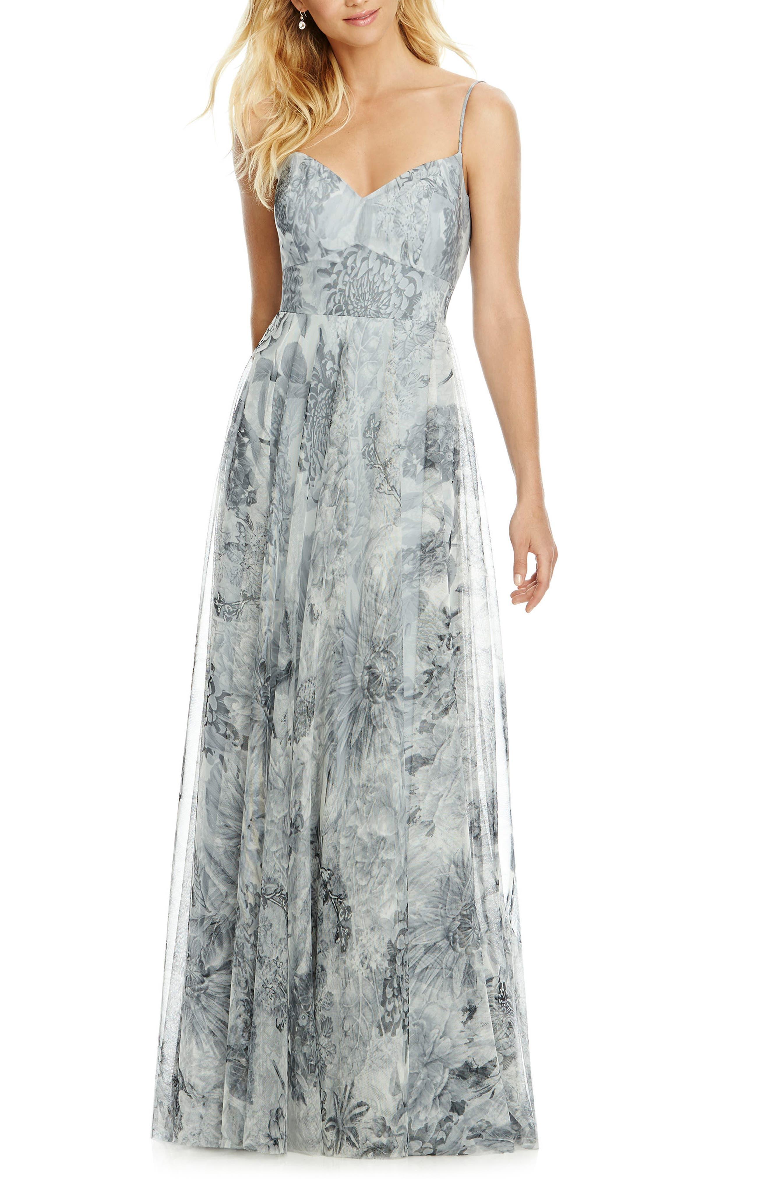 Tulle Column Gown,                         Main,                         color, PLATINUM ROMANCE