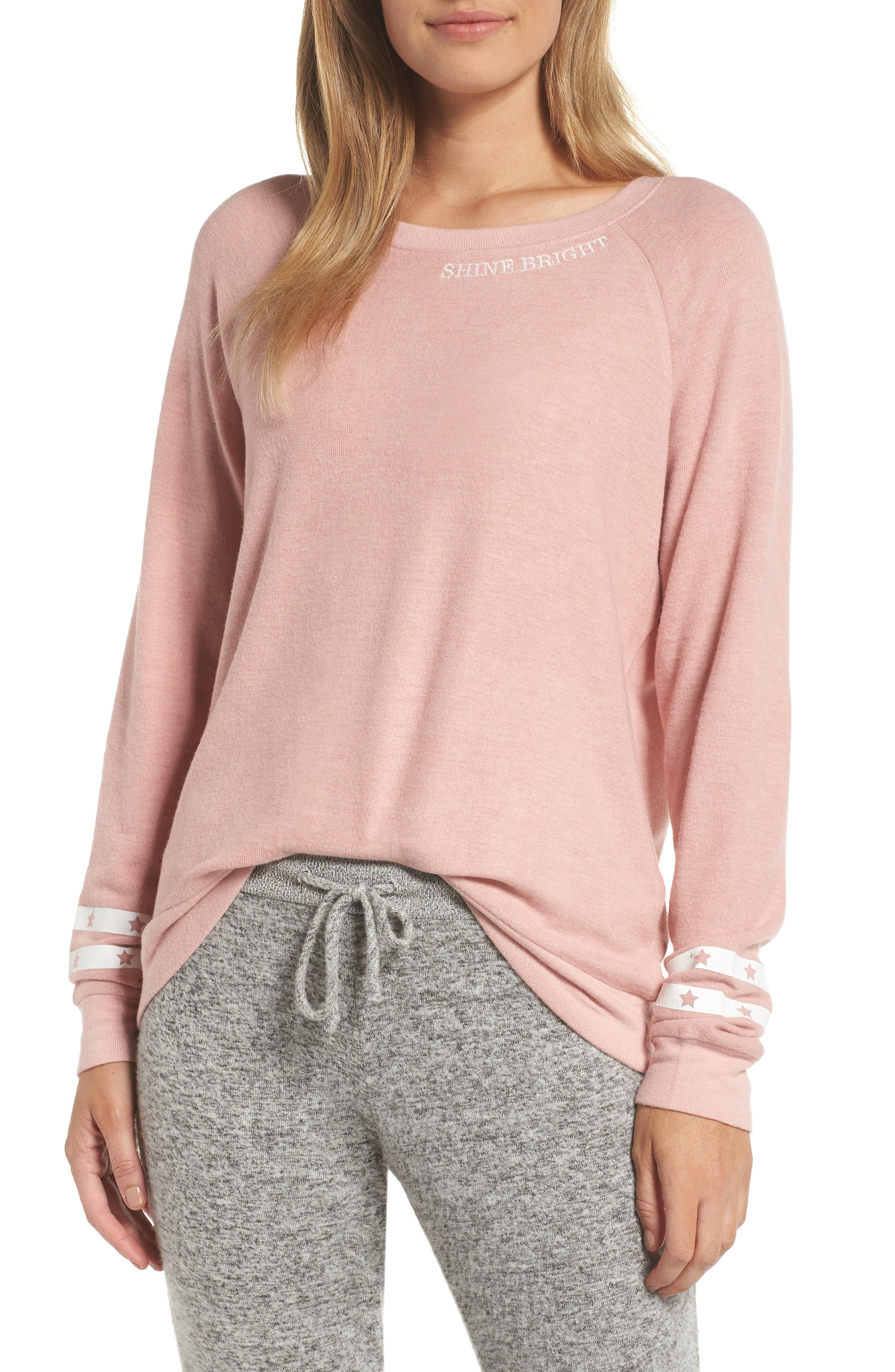 PJ SALVAGE Peachy Jersey Pajama Top in Rose