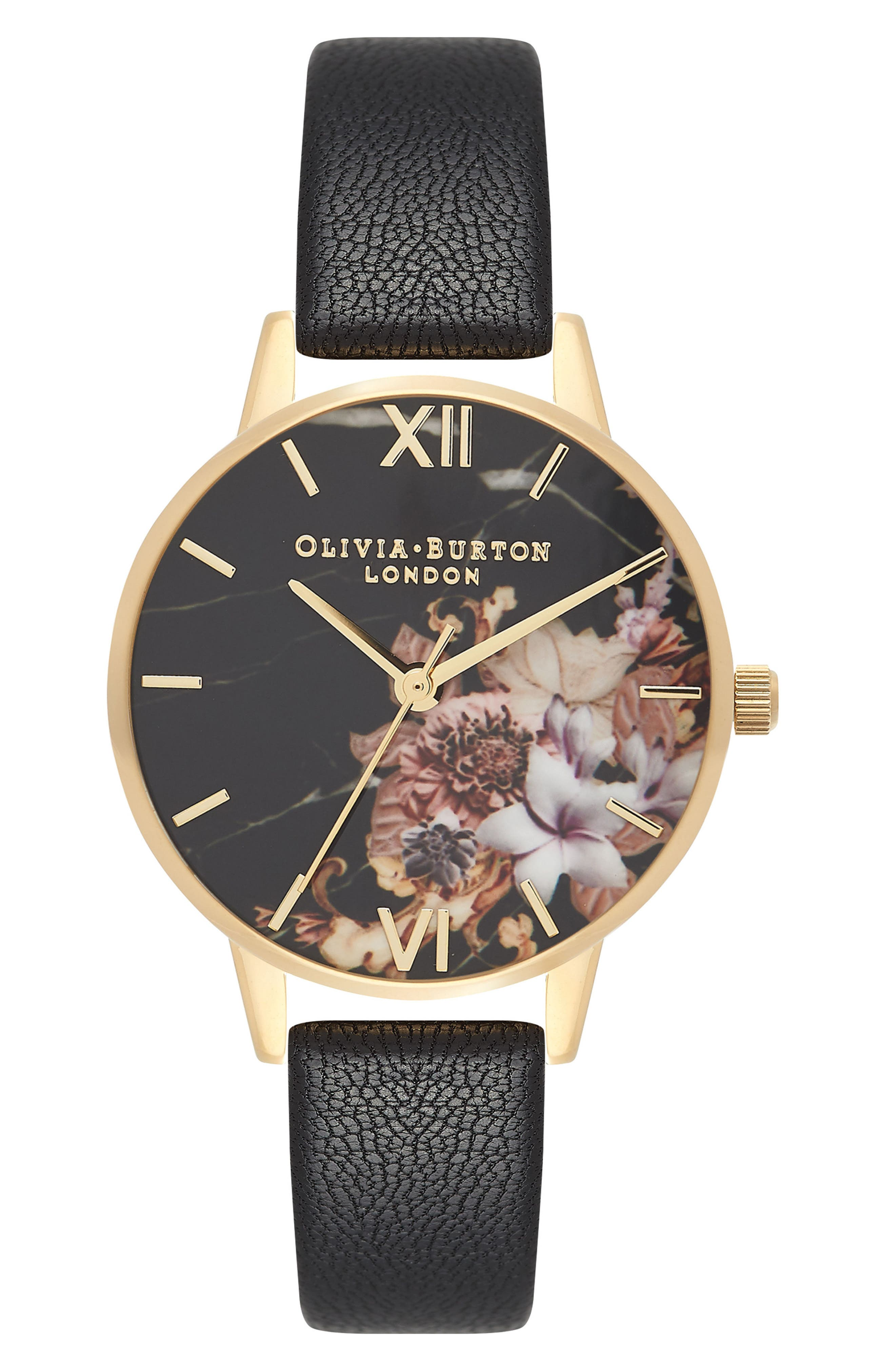 Marble Floral Leather Strap Watch, 30mm,                         Main,                         color, 001