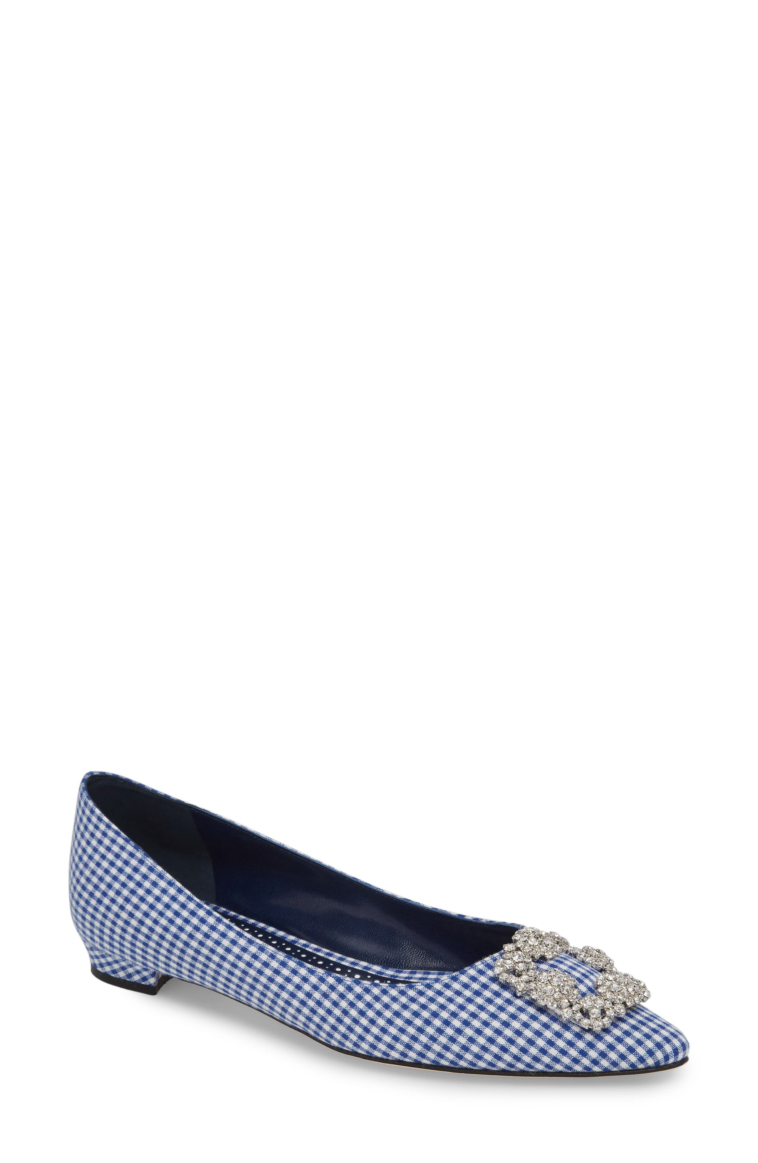 'Hangisi' Jeweled Pointy Toe Flat,                         Main,                         color, NAVY GINGHAM