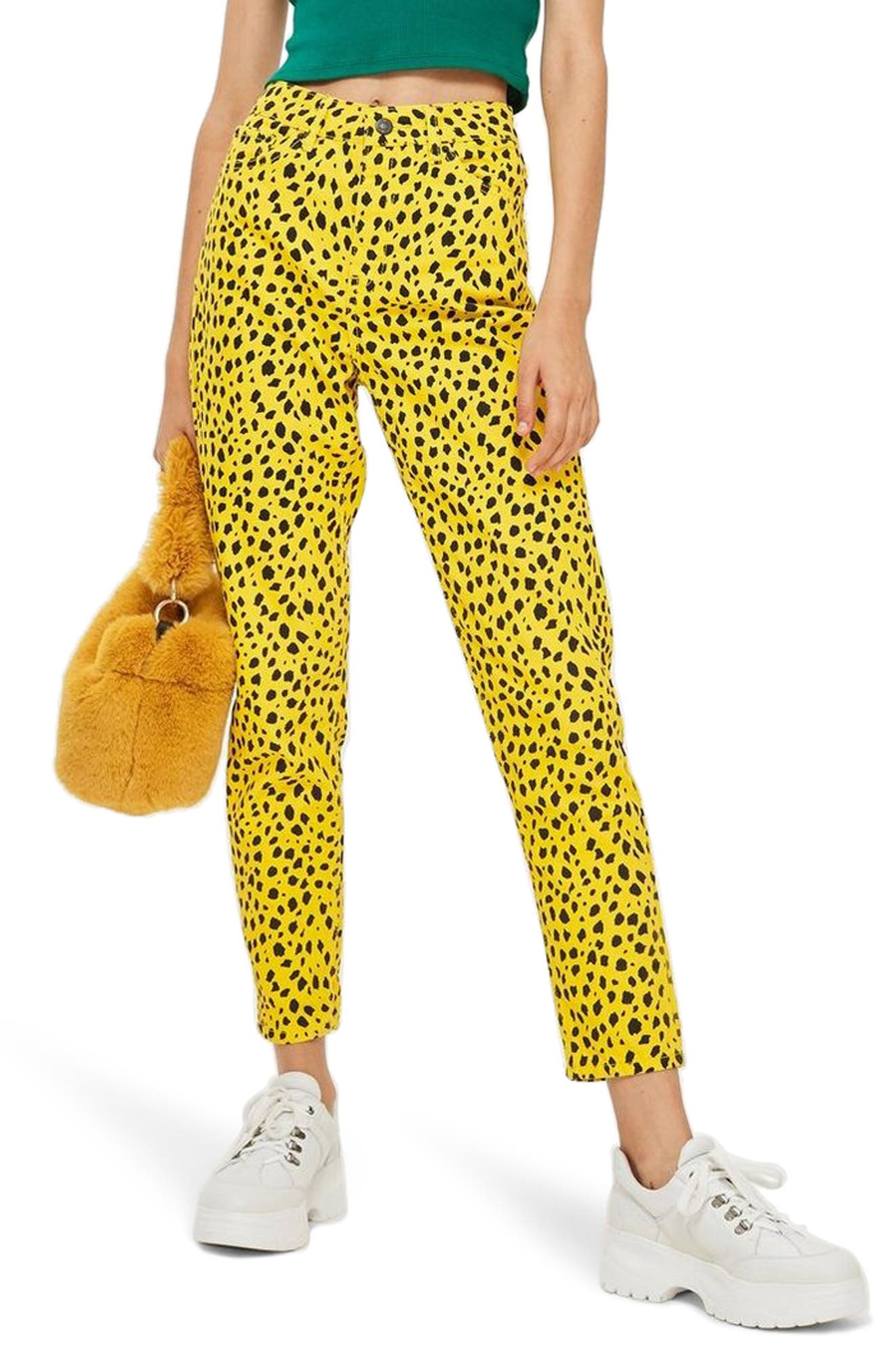 Leopard Mom Jeans,                             Main thumbnail 1, color,                             YELLOW