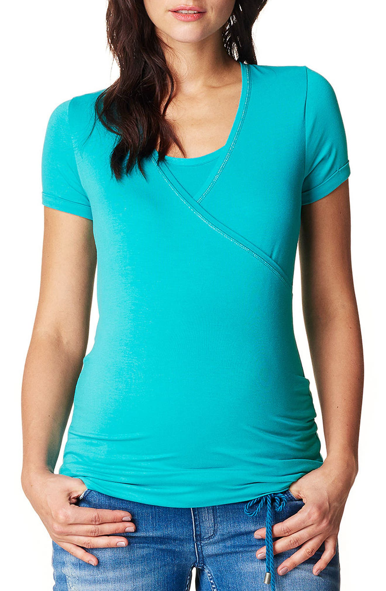 Vera Maternity/Nursing Tee,                         Main,                         color, BRIGHT GREEN