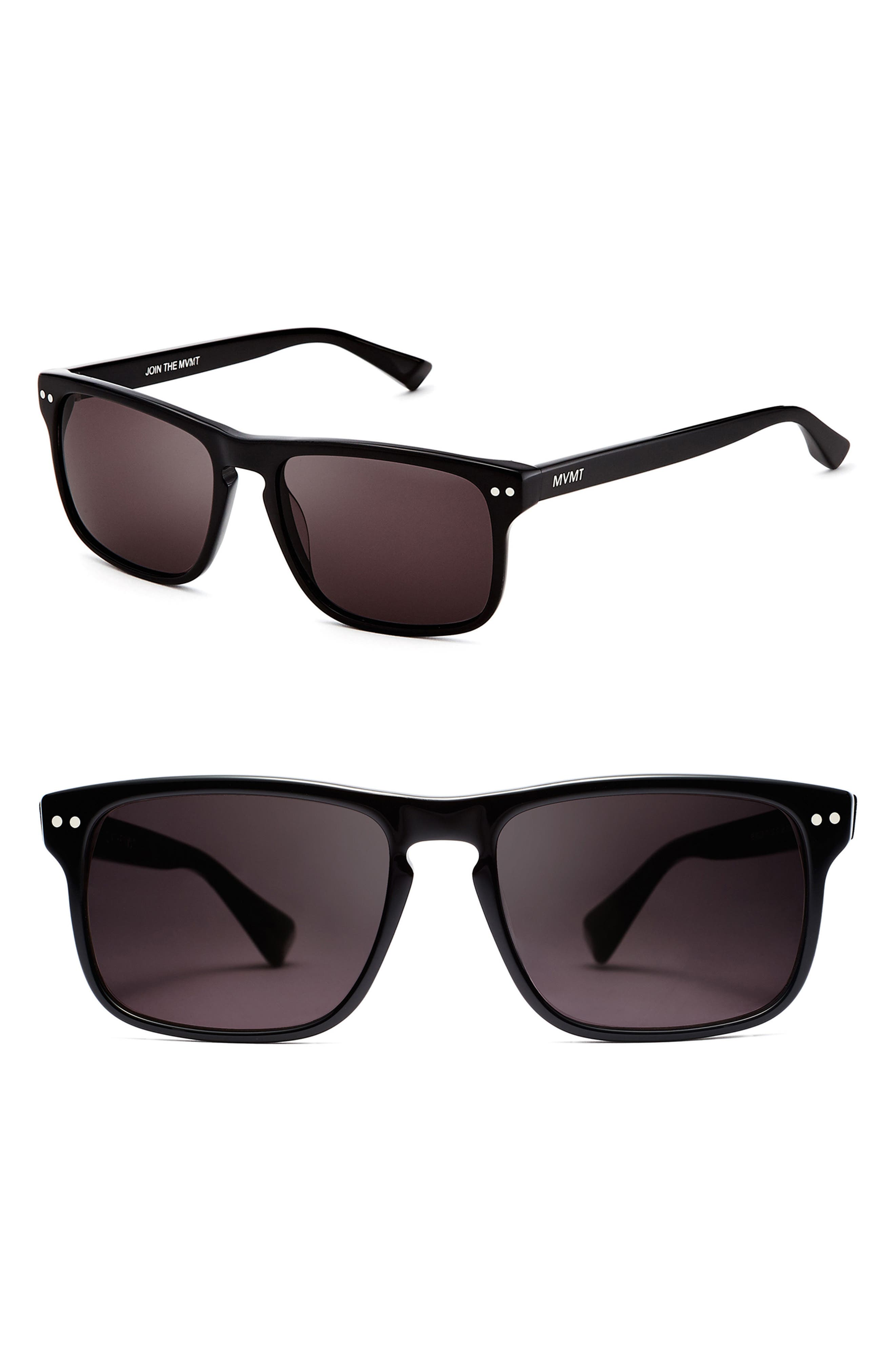 Reveler 57mm Polarized Sunglasses,                         Main,                         color, BLACK