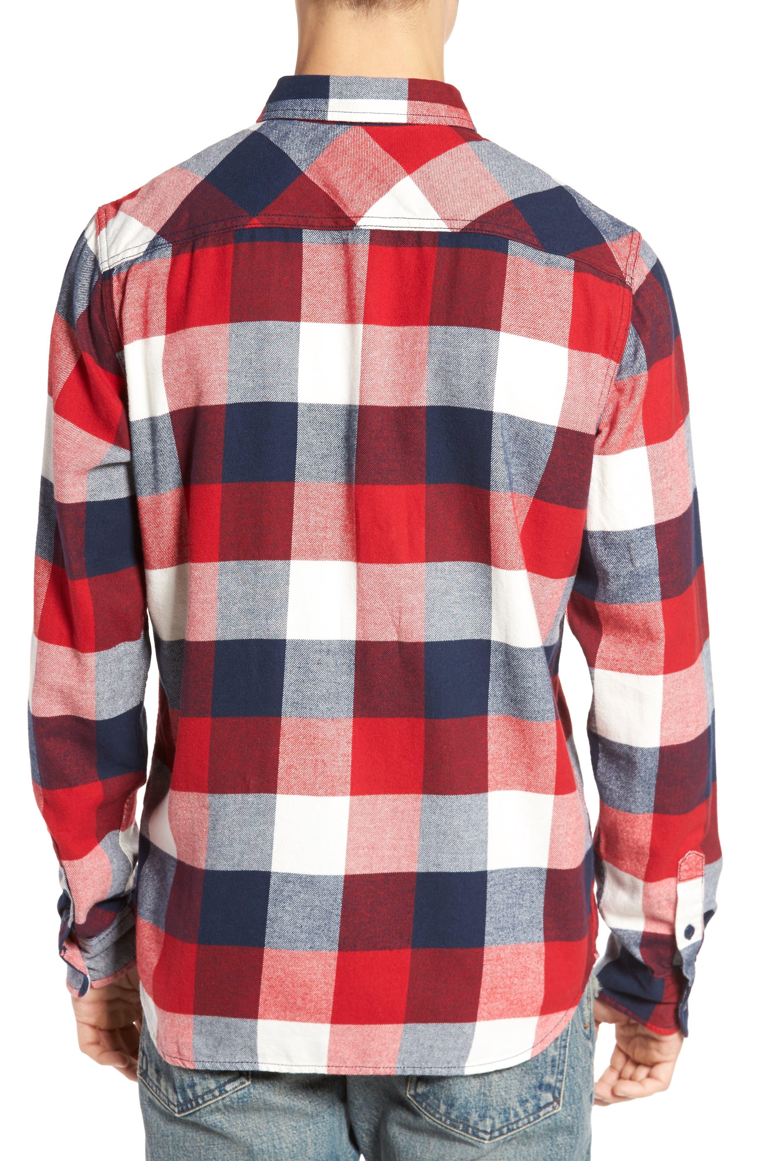Trim Fit Check Flannel Woven Shirt,                             Alternate thumbnail 7, color,