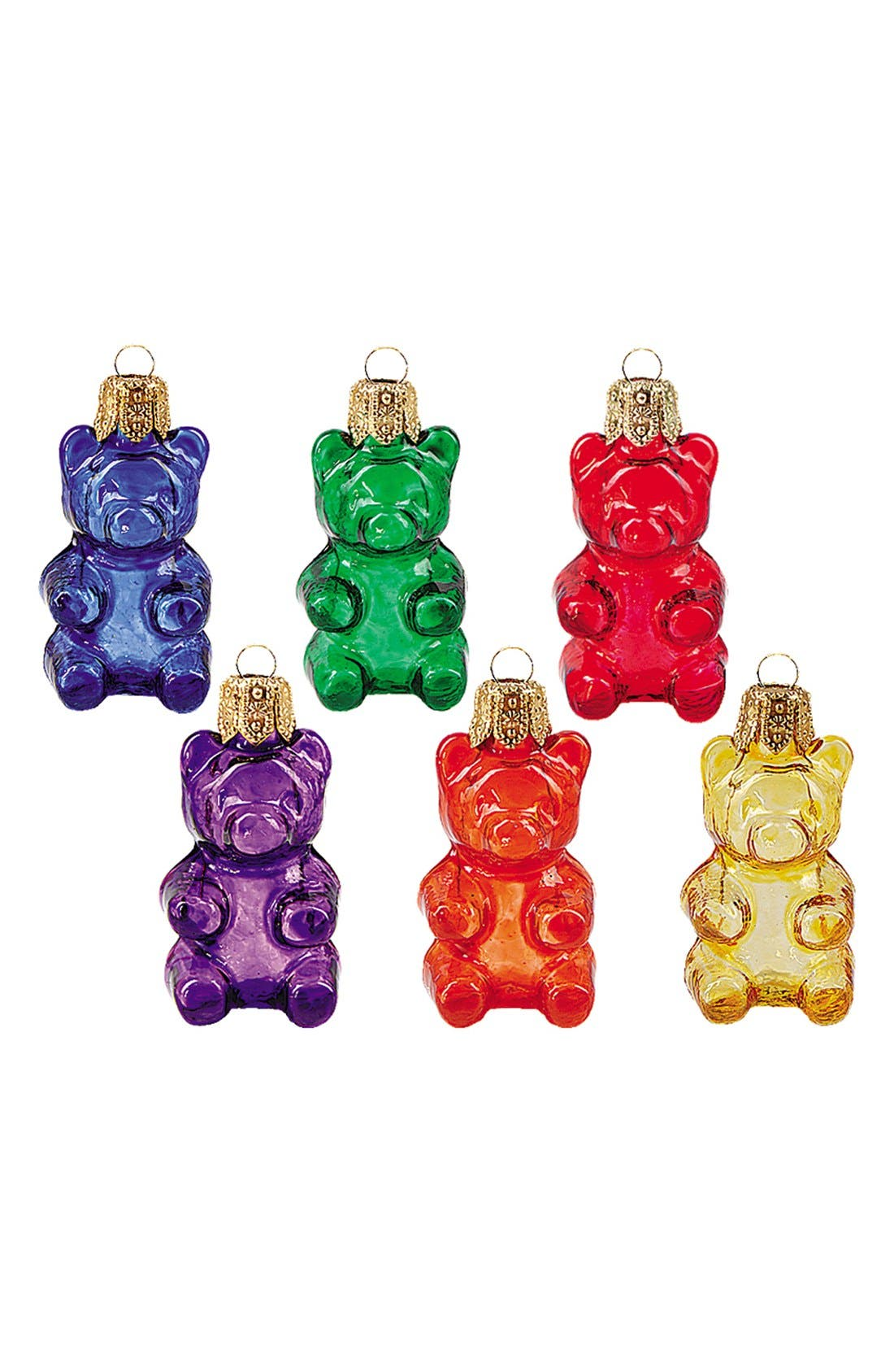 'Gummy Bears' Handblown Glass Ornaments,                             Main thumbnail 1, color,                             600
