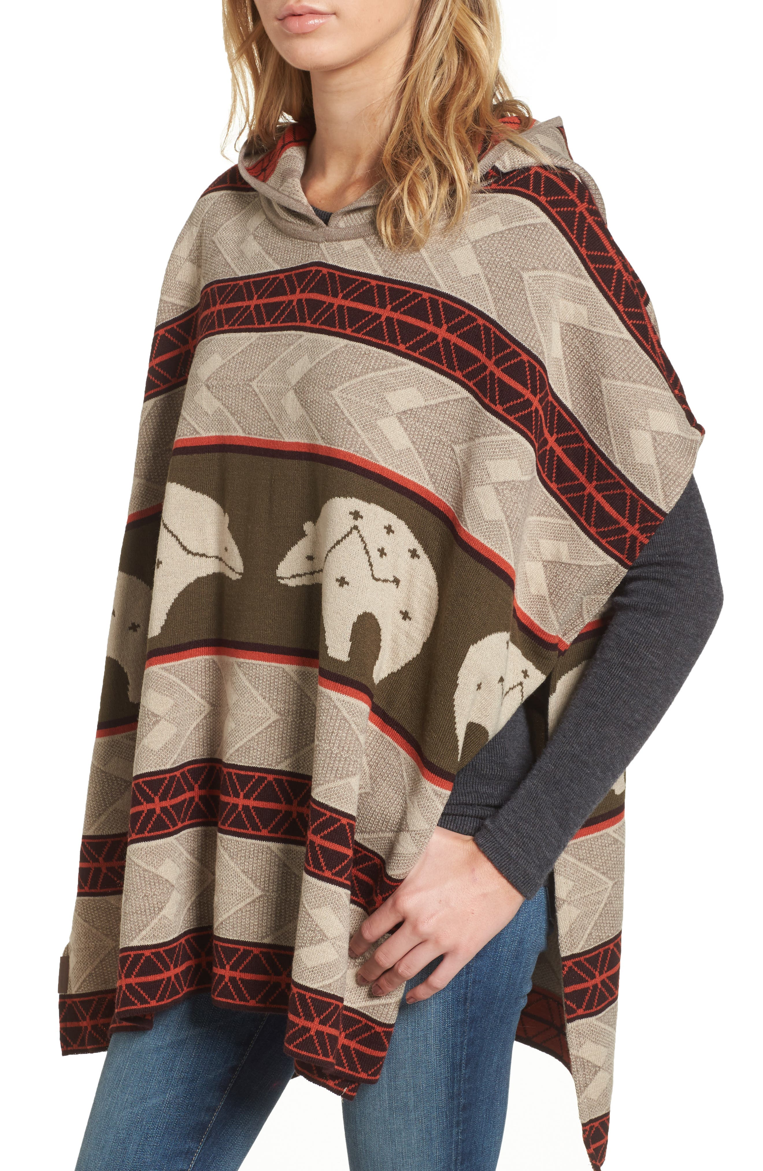 Knit Hooded Poncho,                         Main,                         color, 299