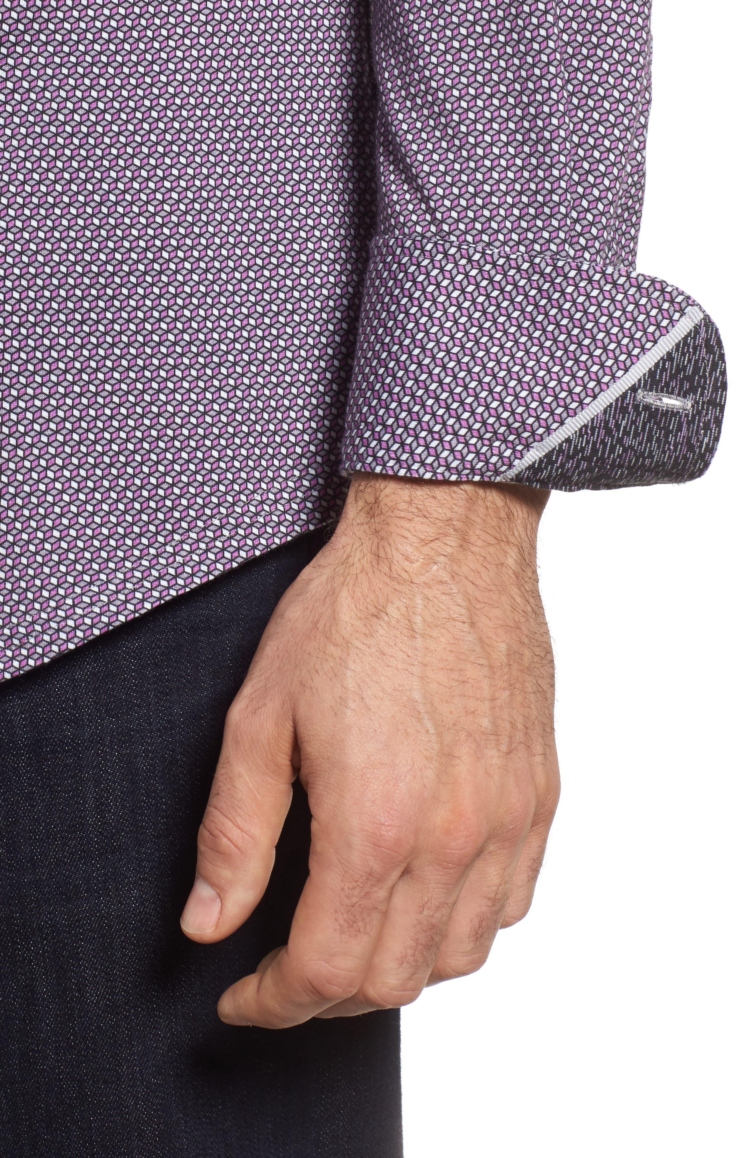 Geo Print Knit Sport Shirt,                             Alternate thumbnail 4, color,