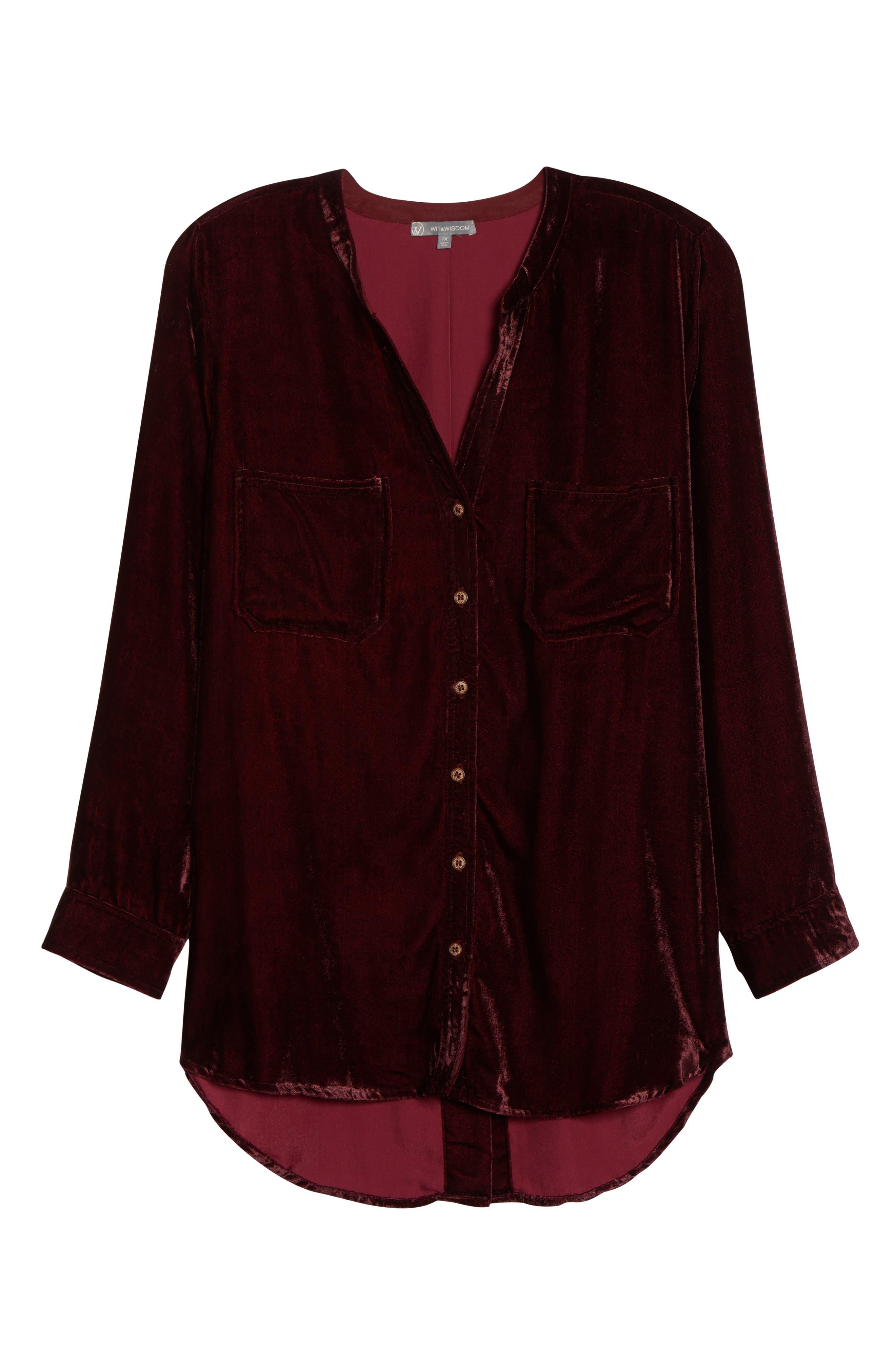 Velvet Shirt,                             Alternate thumbnail 6, color,                             RUBY WINE