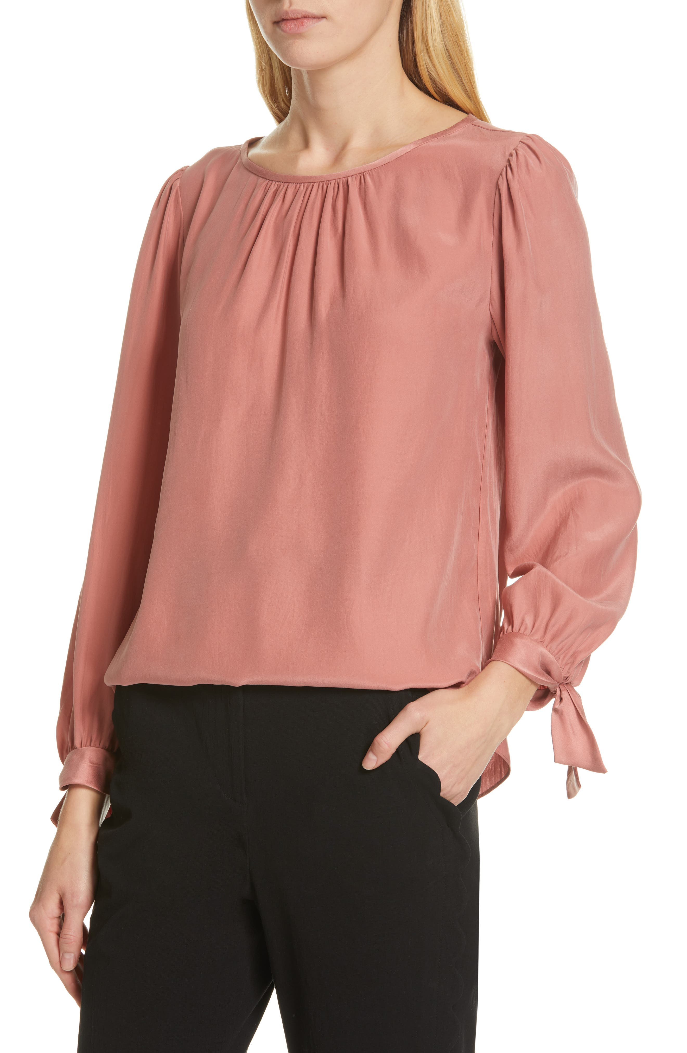 TAILORED BY REBECCA TAYLOR,                             Sleeve Tie Silk Charmeuse Top,                             Alternate thumbnail 4, color,                             LIPGLOSS