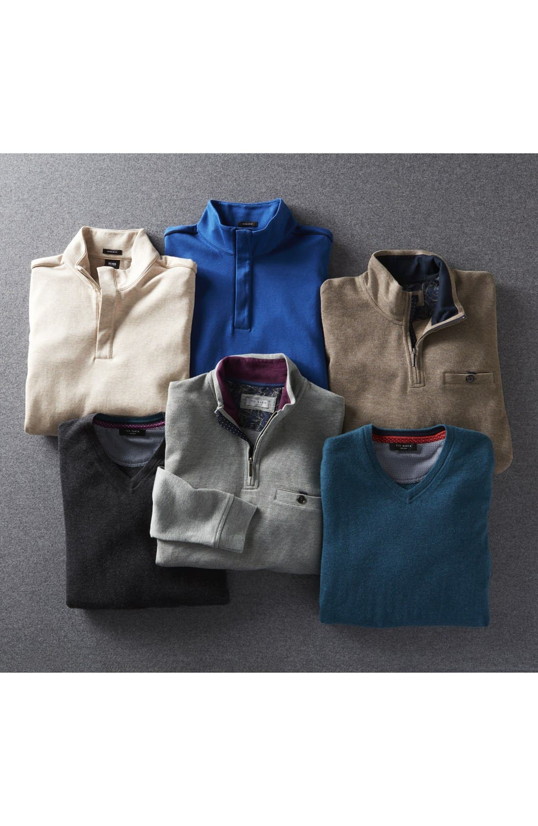 'Cashguy' Trim Fit V-Neck Sweater,                             Alternate thumbnail 6, color,                             001