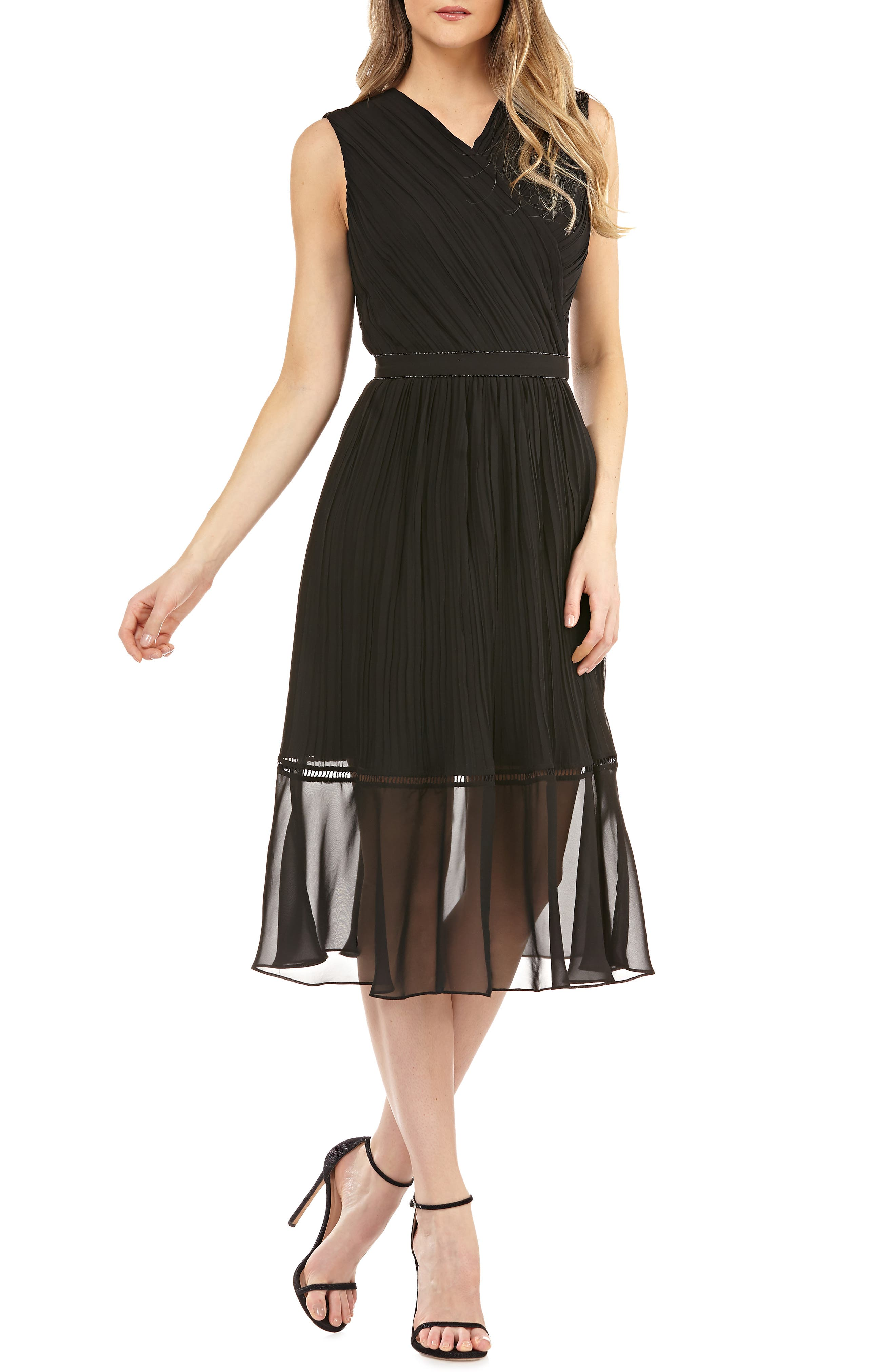 KAY UNGER Pleated Chiffon Faux Wrap Cocktail Dress in Black