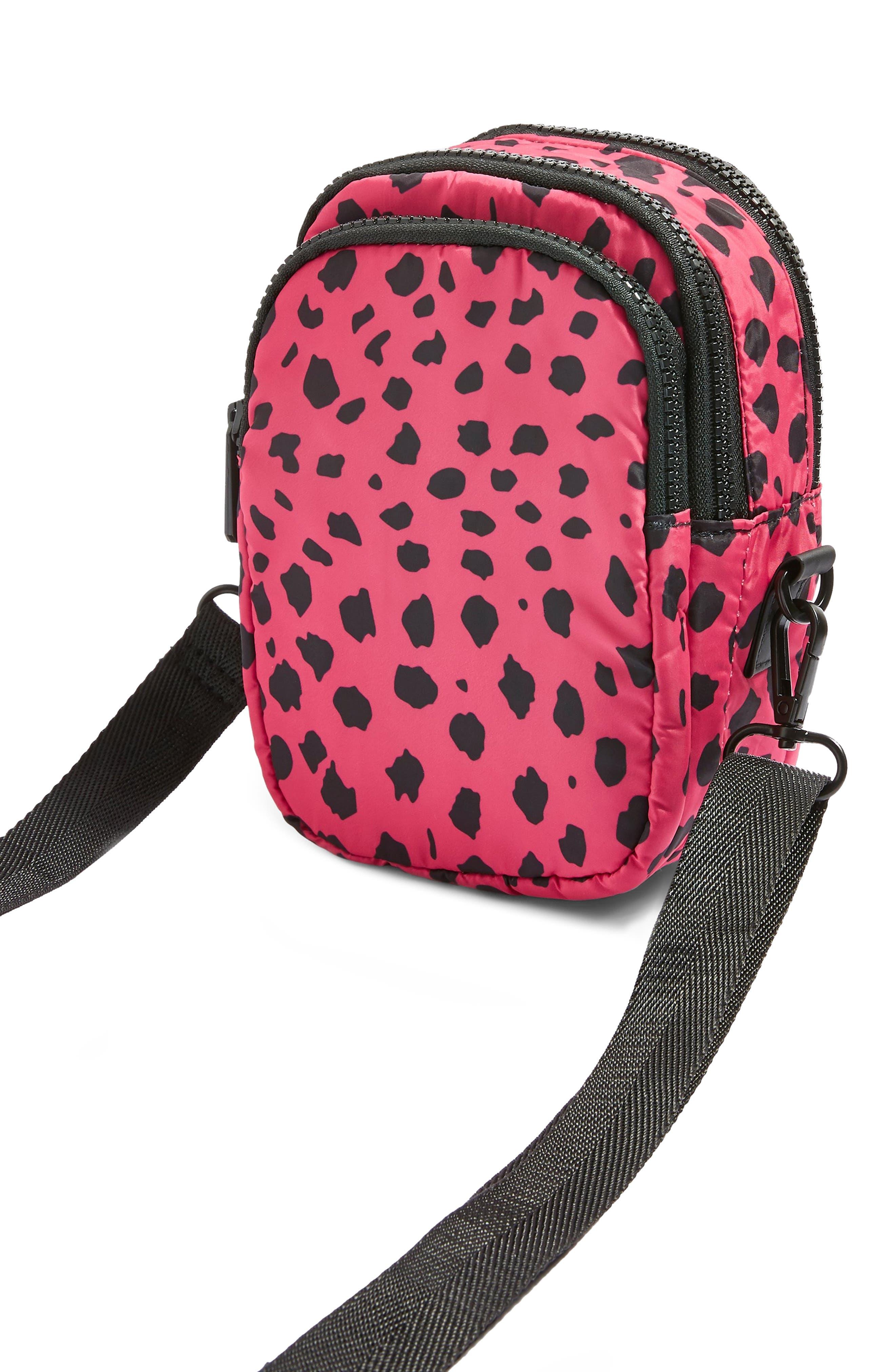 Leopard Print Nylon Shoulder Bag,                             Alternate thumbnail 5, color,                             650