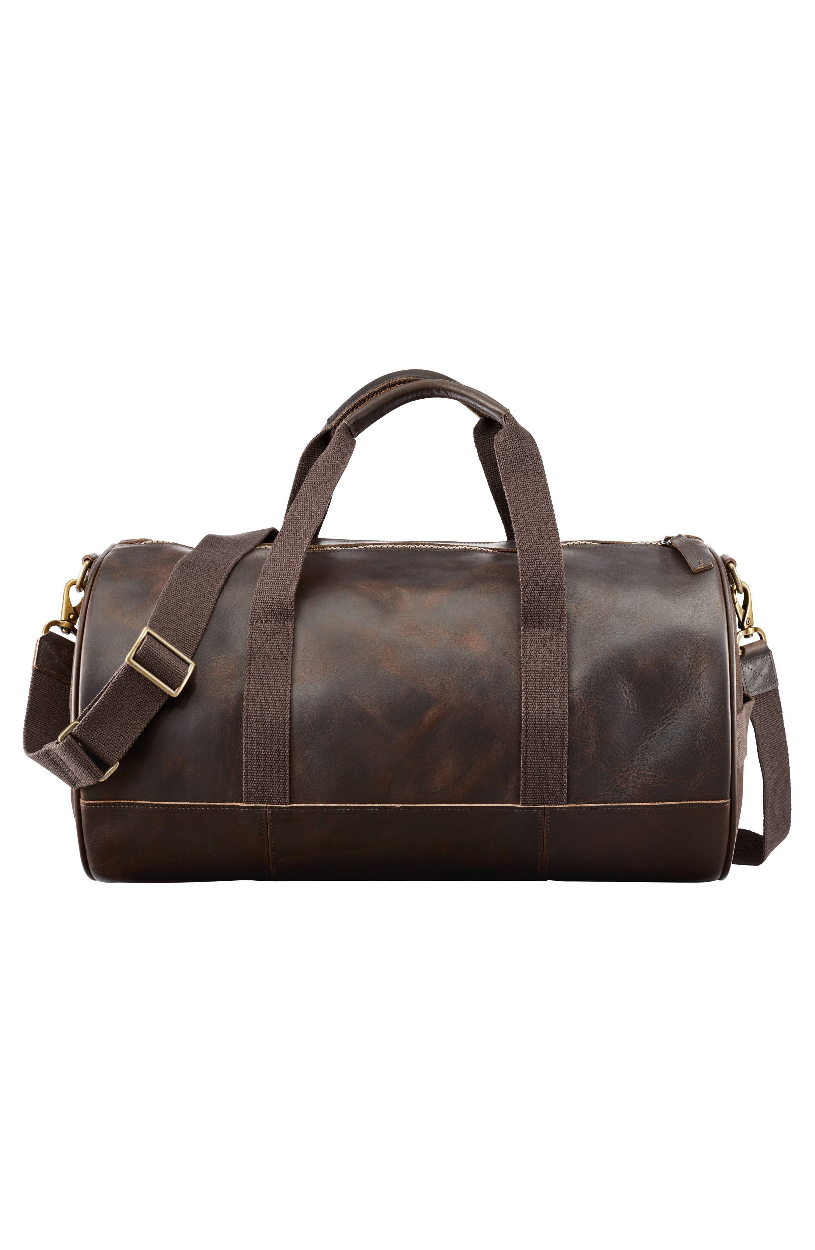 Tuckerman Leather Duffel,                             Alternate thumbnail 2, color,                             DARK BROWN