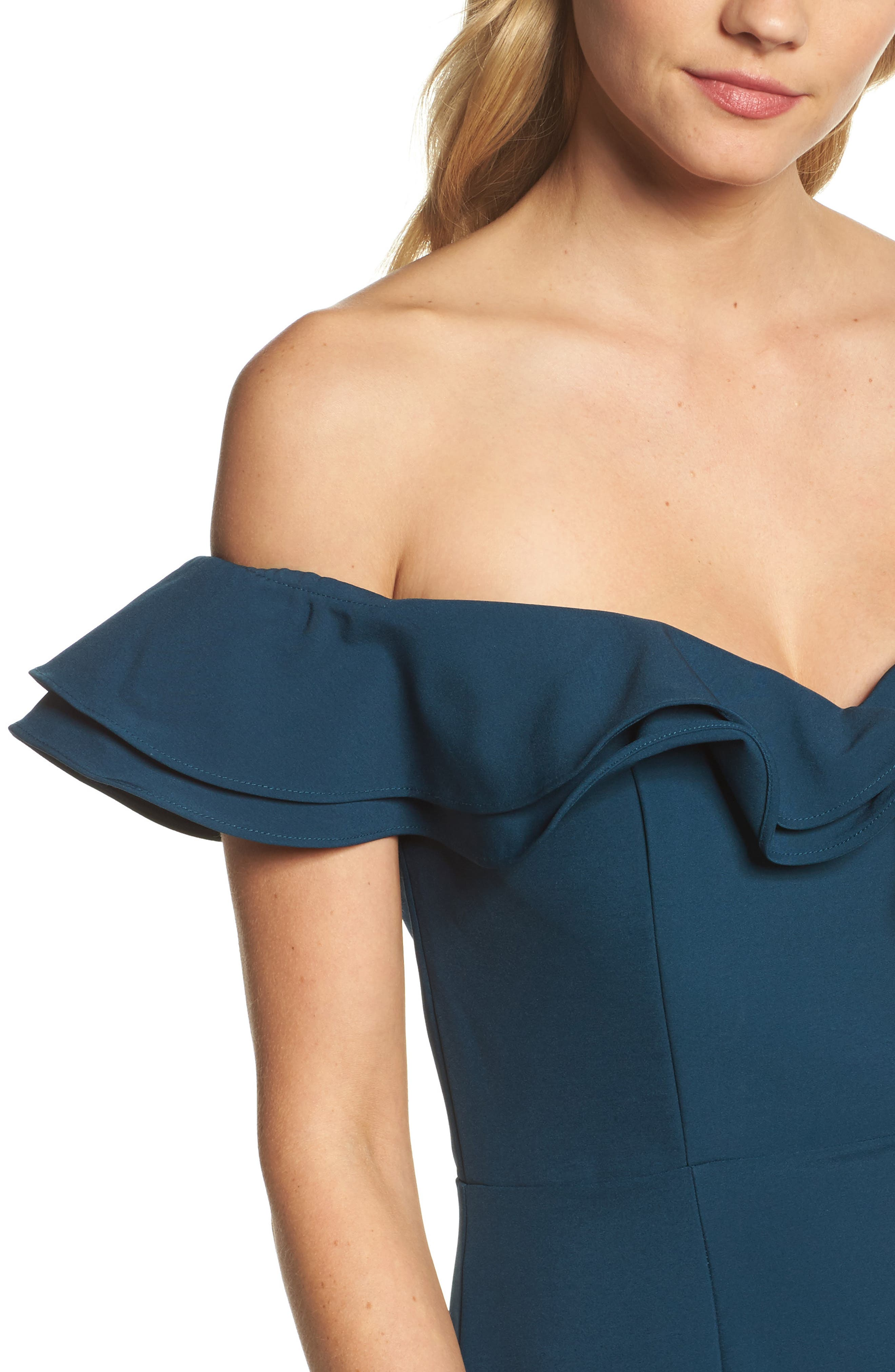 Yazmin Ruffle Off the Shoulder Gown,                             Alternate thumbnail 4, color,